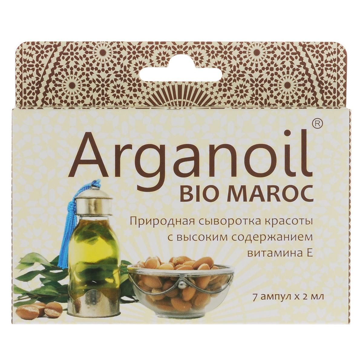 Дом Арганы Масло Арганы для лица и тела Arganoil Bio Maroc, косметическое, 7х2 мл70667Уникальный эликсир молодости и красоты. Высокое содержание природного витамина Е и ненасыщенных жирных кислот. Масло питает, смягчает, усиливает обменные и регенерационные процессы кожных покровов, стимулирует выработку эластина и коллагена, запускает в организме процессы метаболизма и интенсивного омолаживающего действия. Увлажняет, защищая кожу от сухости и раздражения. Прекрасно впитывается, улучшая состояние кожного покрова. Разглаживает неглубокие морщины, подтягивая контур лица. Идеально подходит для любого типа кожи.Товар сертифицирован.