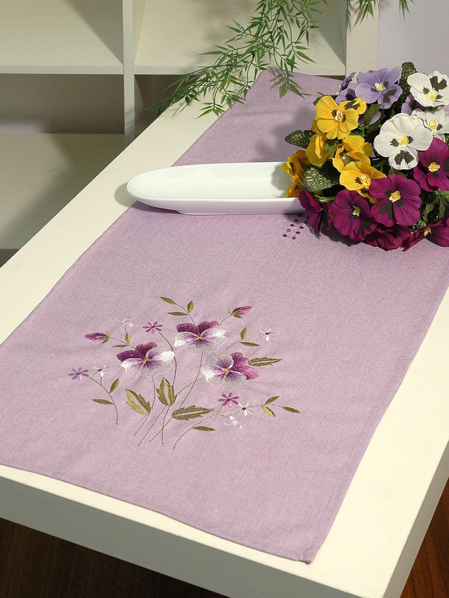 Дорожка для декорирования стола Schaefer, прямоугольная, цвет: сиреневый, 40 x 140 см 07147-211