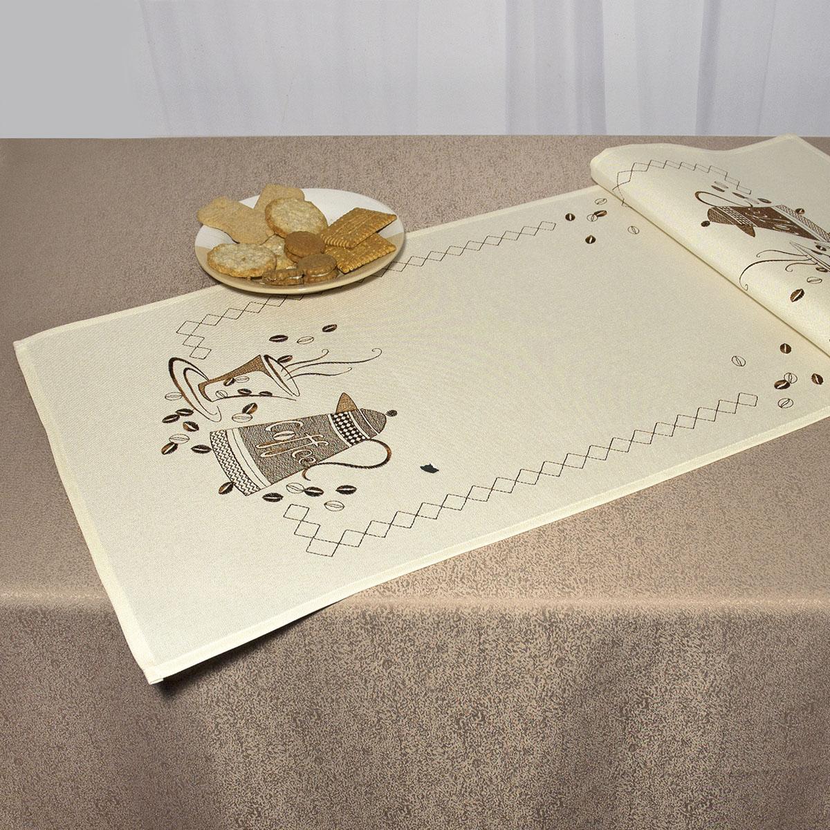 Дорожка для декорирования стола Schaefer, прямоугольная, цвет: кремовый, коричневый, 40 x 110 см 07479-23307479-233Дорожка Schaefer выполнена из высококачественного полиэстера и украшена вышитым рисунком. Вы можете использовать дорожку для декорирования стола, комода или журнального столика. Благодаря такой дорожке вы защитите поверхность мебели от воды, пятен и механических воздействий, а также создадите атмосферу уюта и домашнего тепла в интерьере вашей квартиры. Изделия из искусственных волокон легко стирать: они не мнутся, не садятся и быстро сохнут, они более долговечны, чем изделия из натуральных волокон. Изысканный текстиль от немецкой компании Schaefer - это красота, стиль и уют в вашем доме. Дорожка органично впишется в интерьер любого помещения, а оригинальный дизайн удовлетворит даже самый изысканный вкус.Дарите себе и близким красоту каждый день!