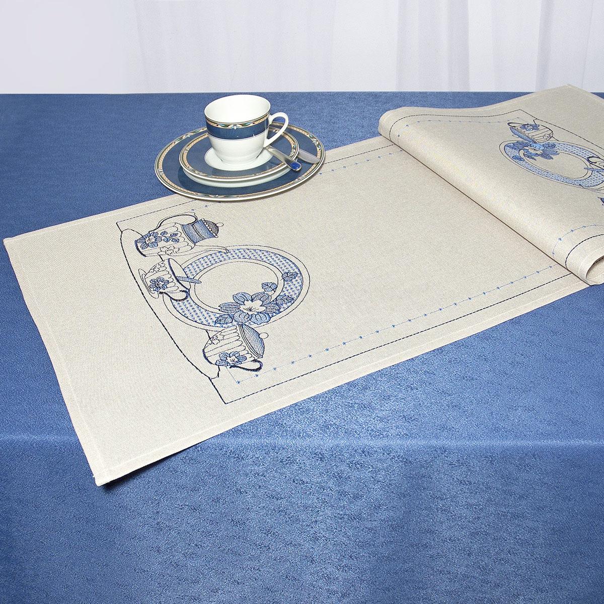 Дорожка для декорирования стола Schaefer, прямоугольная, цвет: кремовый, голубой, 40 x 110 см 07480-233