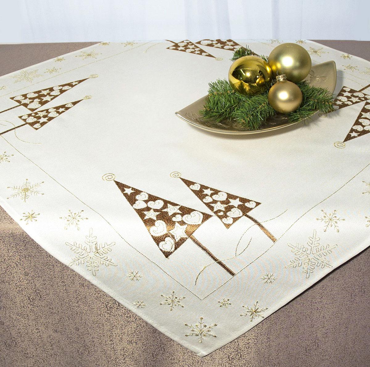 Скатерть Schaefer, квадратная, цвет: бежевый, золотистый, 85x 85 см. 07486-10007486-100Скатерть Schaefer изготовлена из полиэстера и украшена новогодней вышивкой.Изделия из полиэстера легко стирать: они не мнутся, не садятся и быстро сохнут, они более долговечны, чем изделия из натуральных волокон. Кроме того, ткань обладает водоотталкивающими свойствами. Такая скатерть будет просто не заменима на кухне, а особенно на вашем обеденном столе на даче под открытым небом. Скатерть Schaefer не останется без внимания ваших гостей, а вас будет ежедневно радовать ярким дизайном и несравненным качеством.Немецкая компания Schaefer создана в 1921 году. На протяжении всего времени существования она создает уникальные коллекции домашнего текстиля для гостиных, спален, кухонь и ванных комнат. Дизайнерские идеи немецких художников компании Schaefer воплощаются в текстильных изделиях, которые сделают ваш дом красивее и уютнее и не останутся незамеченными вашими гостями. Дарите себе и близким красоту каждый день! Изысканный текстиль от немецкой компании Schaefer - это красота, стиль и уют в вашем доме.