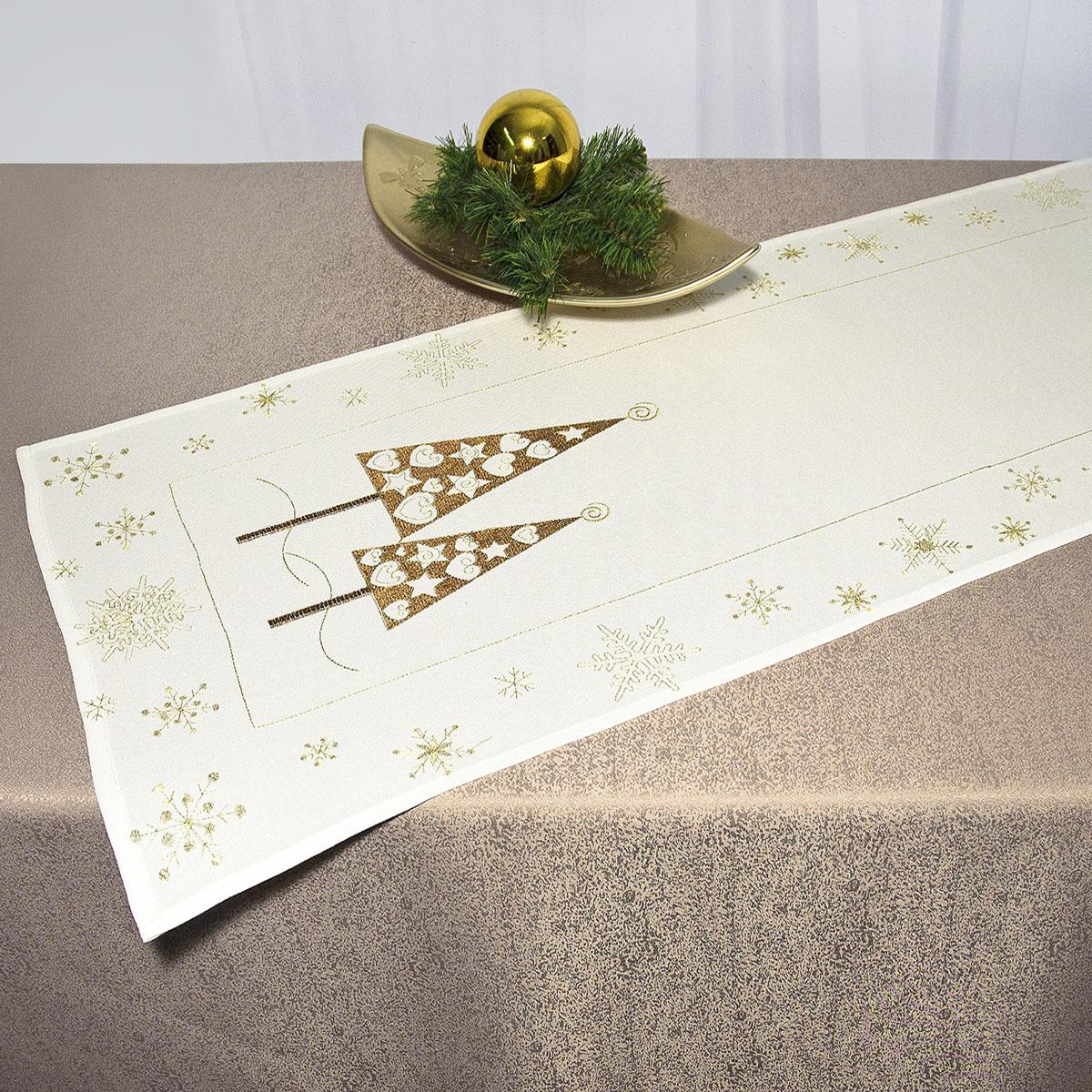 Дорожка для декорирования стола Schaefer, прямоугольная, цвет: белый, золотистый, 40 x 110 см 07486-23307486-233Дорожка Schaefer выполнена из высококачественного полиэстера и украшена вышитыми рисунками в виде новогодних елочек и снежинок. Вы можете использовать дорожку для декорирования стола, комода или журнального столика.Благодаря такой дорожке вы защитите поверхность мебели от воды, пятен и механических воздействий, а также создадите атмосферу уюта и домашнего тепла в интерьере вашей квартиры. Изделия из искусственных волокон легко стирать: они не мнутся, не садятся и быстро сохнут, они более долговечны, чем изделия из натуральных волокон. Изысканный текстиль от немецкой компании Schaefer - это красота, стиль и уют в вашем доме. Дорожка органично впишется в интерьер любого помещения, а оригинальный дизайн удовлетворит даже самый изысканный вкус. Дарите себе и близким красоту каждый день!