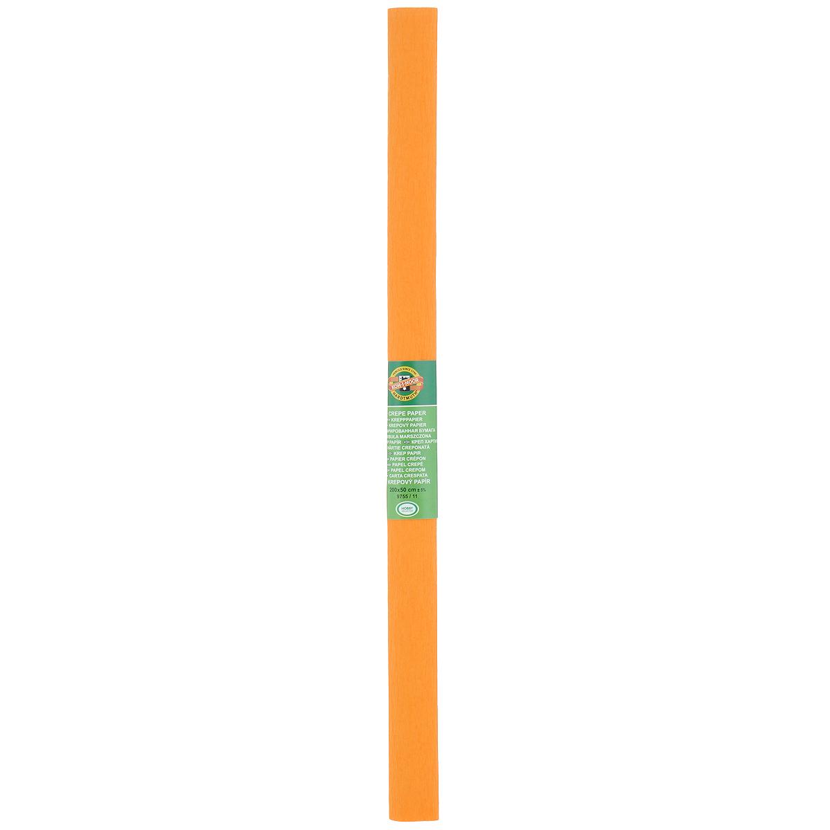 Бумага гофрированная Koh-I-Noor, цвет: светло-оранжевый, 50 см x 2 м9755/11Гофрированная бумага Koh-I-Noor - прекрасный материал для декорирования, изготовления эффектной упаковки и различных поделок. Бумага прекрасно держит форму, не пачкает руки, отлично крепится и замечательно подходит для изготовления праздничной упаковки для цветов.