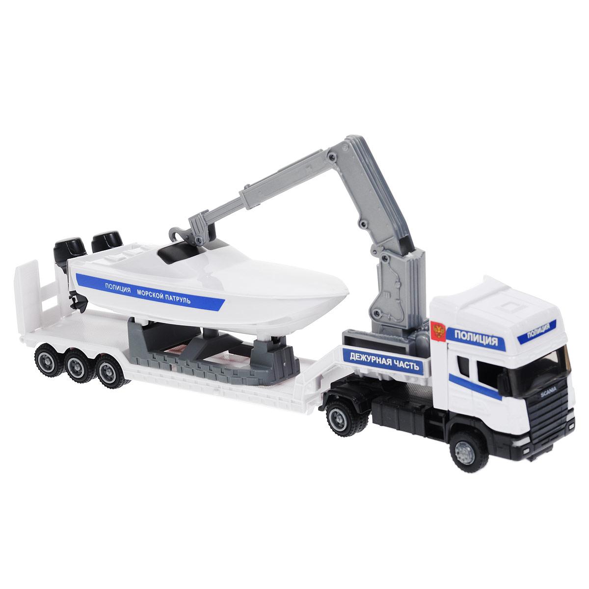 Autotime Игрушка Машинка Scania: Полиция, c катером. Масштаб 1/48 модель машины chun base 1 43 scania