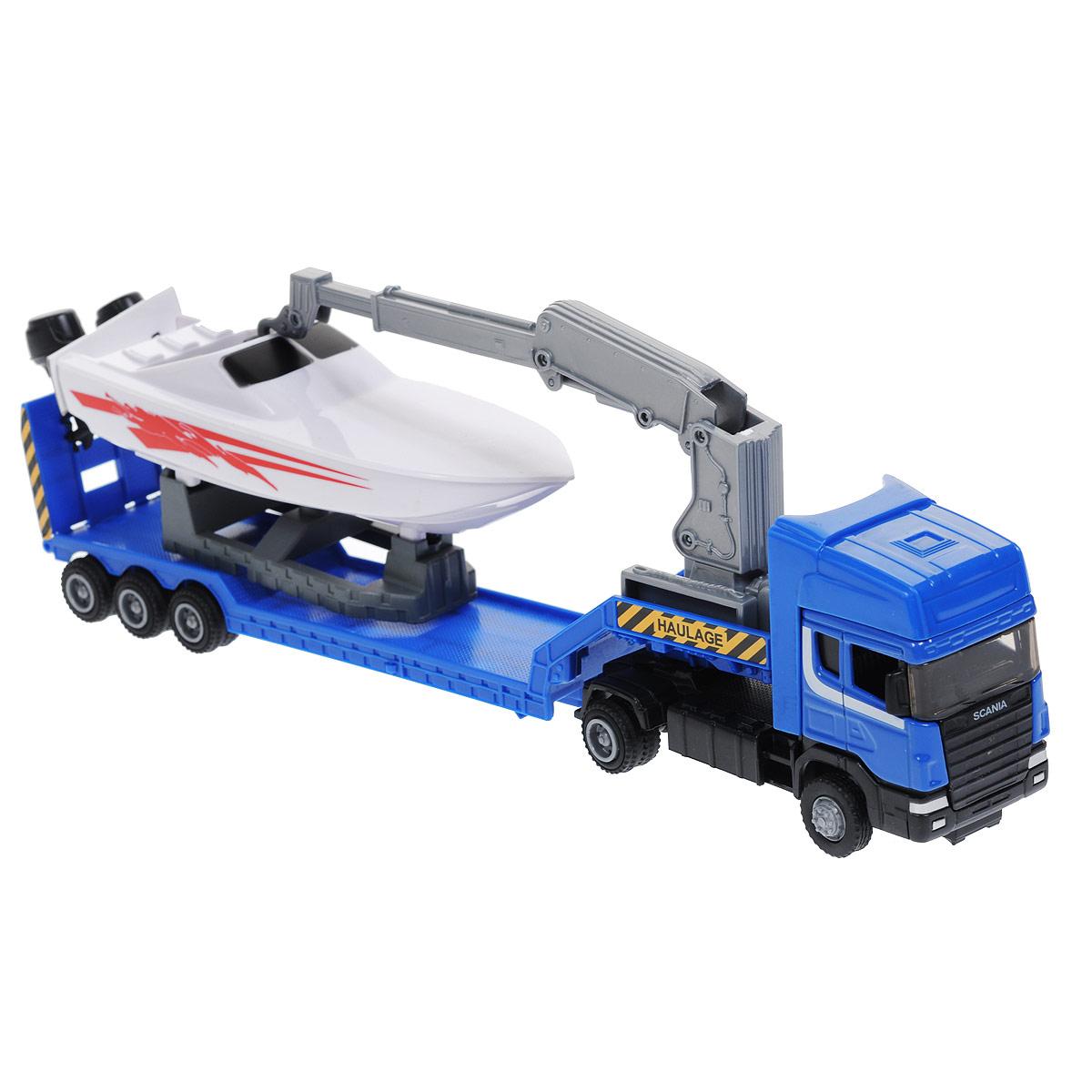 Autotime Игрушка Машинка Scania: Haulage, c катером, цвет: синий, белый. Масштаб 1/48 модель машины chun base 1 43 scania