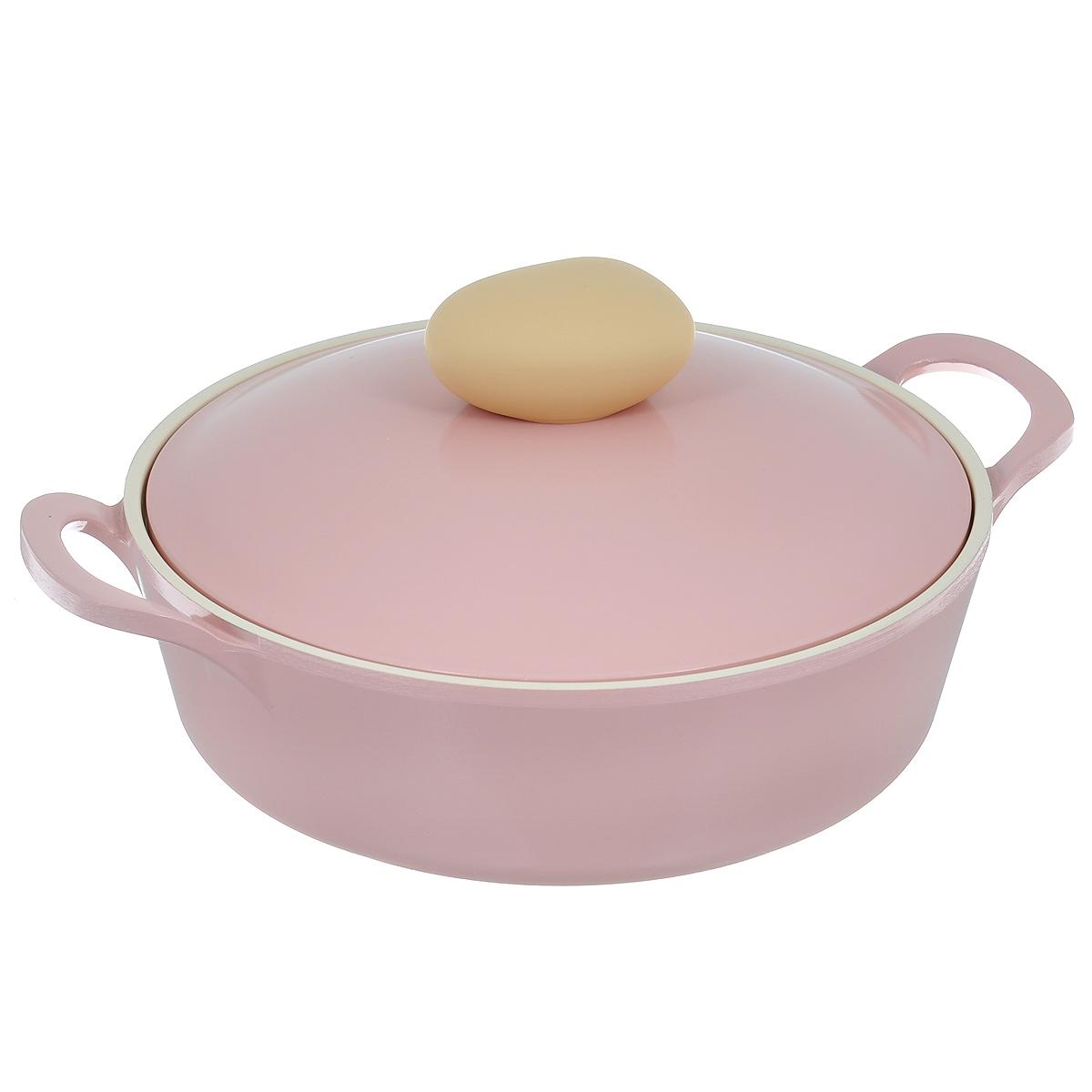 Жаровня Frybest Round с крышкой, с керамическим покрытием, цвет: розовый, 2 л