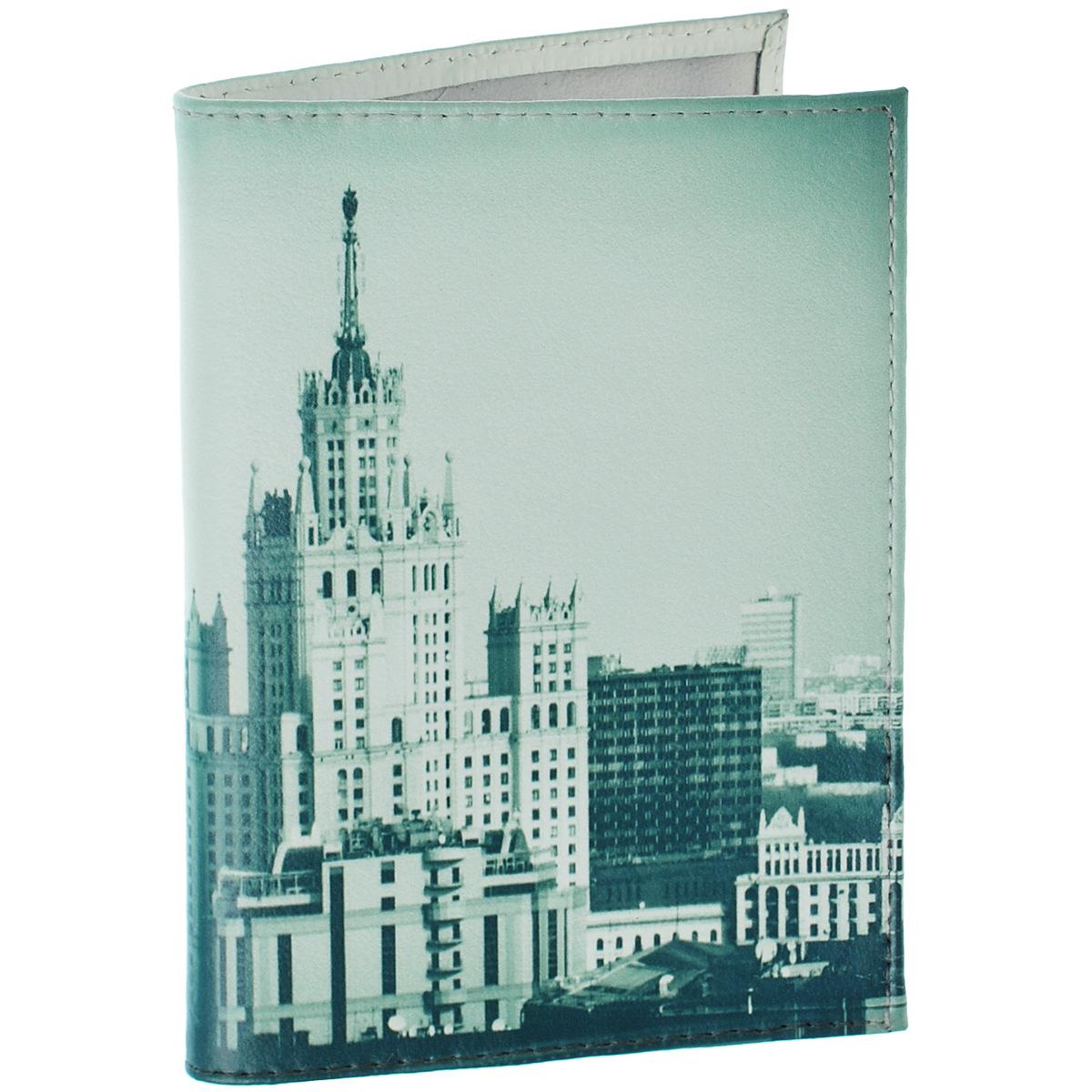 Обложка для паспорта Сталинская высотка. OK283OK283Обложка для паспорта Mitya Veselkov Сталинская высотка изготовлена из натуральной высококачественной кожи и оформлена изображением городского пейзажа со знаменитой высоткой. Внутри содержится два пластиковых кармашка для паспорта. Стильная обложка для паспорта не только поможет сохранить внешний вид ваших документов и защитить их от грязи и пыли, но и станет стильным аксессуаром, идеально подходящим вашему образу.