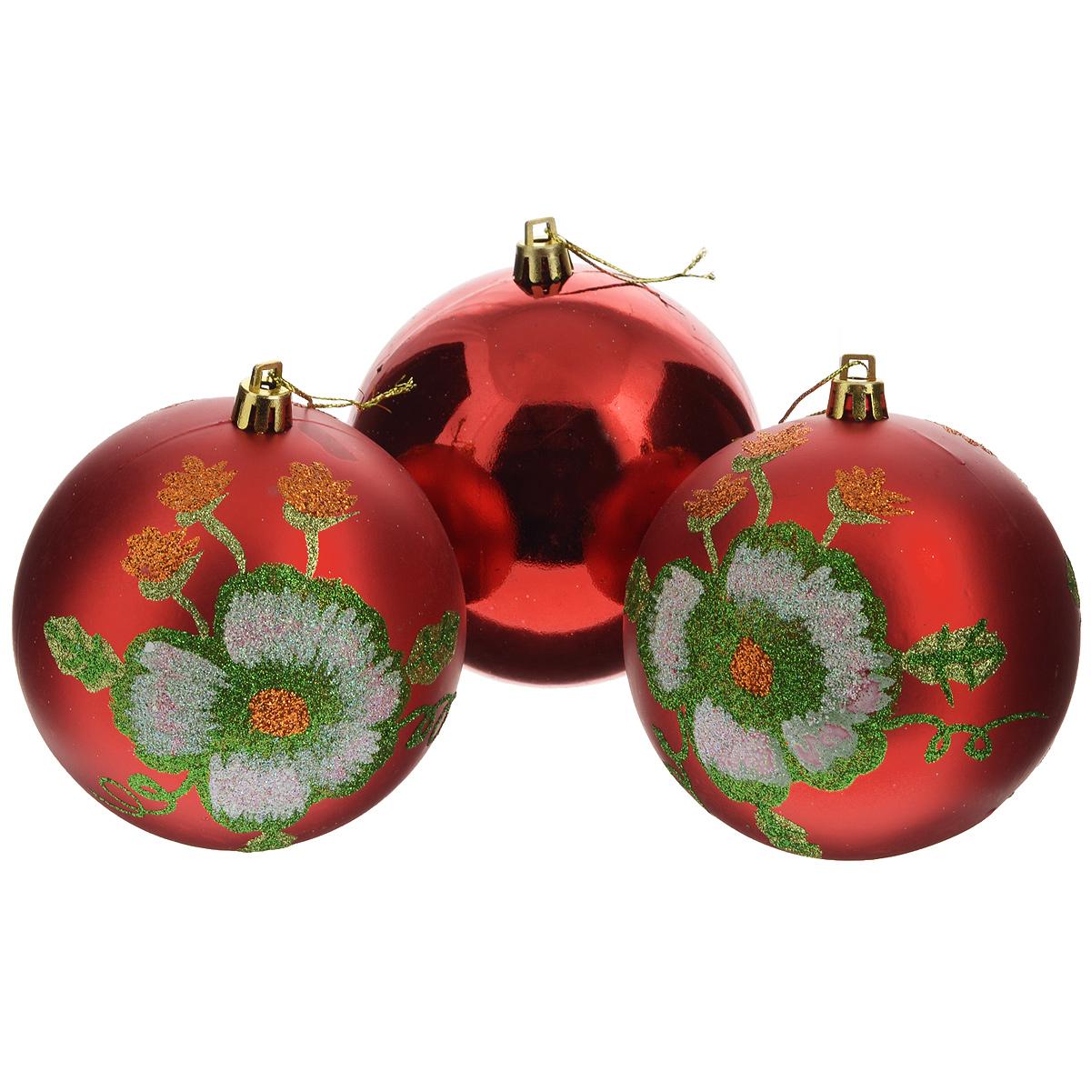 Набор новогодних подвесных украшений Sima-land Шар, цвет: красный, диаметр 10 см, 3 шт. 733908 кармашки на стену для бани sima land банные мелочи цвет белый 3 шт