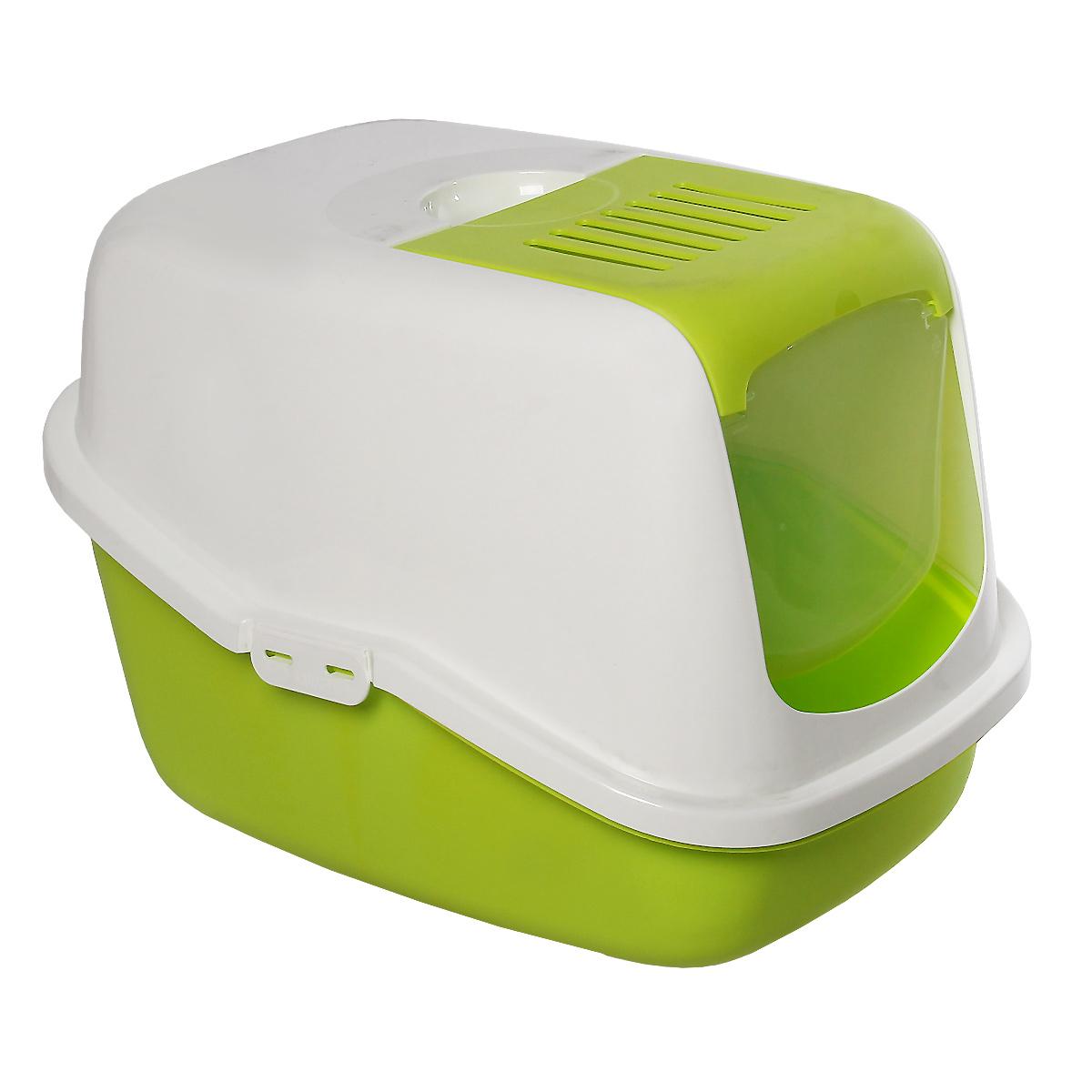 Туалет для кошек Savic  Nestor , закрытый, цвет: белый, зеленый лимон, 56 см х 39 см х 38,5 см