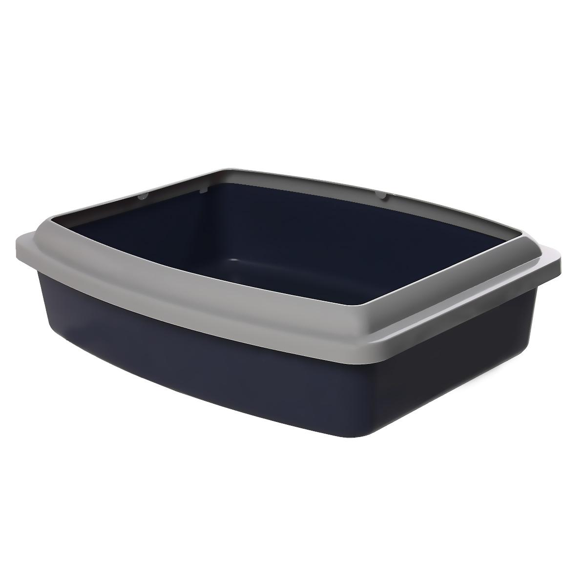 Туалет для кошек Savic Oval Trays Jumbo, с бортом, цвет: темно-синий, серый, 56 х 44 см209Туалет для кошек Savic Oval Trays Jumbo изготовлен из качественного прочного пластика. Высокий цветной борт, прикрепленный по периметру лотка, удобно защелкивается и предотвращает разбрасывание наполнителя.Это самый простой в употреблении предмет обихода для кошек и котов.