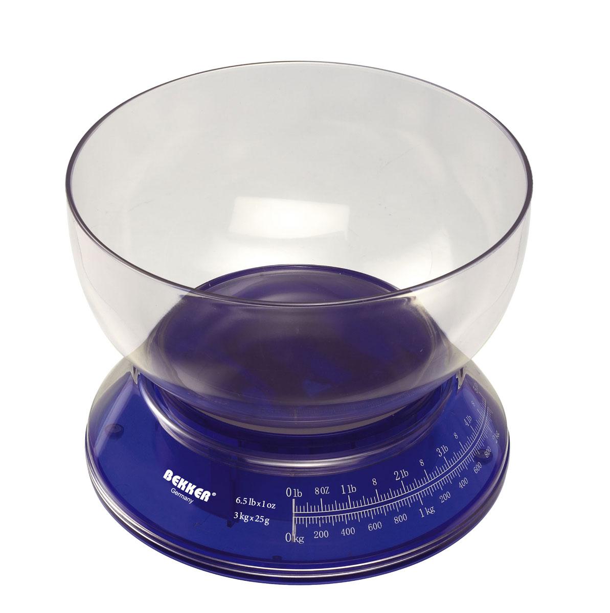 Весы кухонные Bekker, цвет: синий, 3 кг. BK-2512BK-2512Механические кухонные весы Bekker выполнены из пластика и представляют собой круглую основу с циферблатом и съемной чашей. Циферблат снабжен отметками граммов и килограммов и стрелкой красного цвета. Имеют ручную регулировку шкалы. Имеется инструкция по применению.Особенности весов Bekker:надежный механизм,удобная круглая чаша,простой и быстрый способ проверить вес продуктов.Материал: пластик.Объем: 2,5 л.Размер весов (с учетом чаши): 17 см х 21 см х 21 см.Диаметр чаши: 21 см.Цена деления: 25 г.