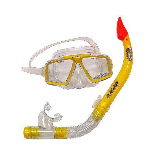 Комплект Aquatics. Маска Cozumel-II и трубка Sonora Dry, цвет: желтый очки маски и трубки для плавания intex маска авиатор для плавания 55911