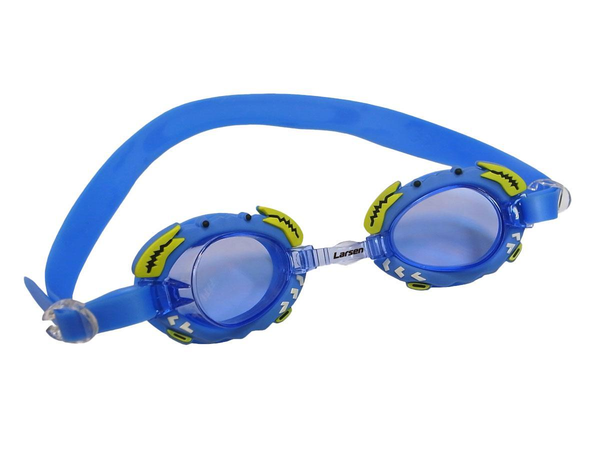 Очки плавательные Larsen Крабик, цвет: синий очки плавательные детские larsen ds204