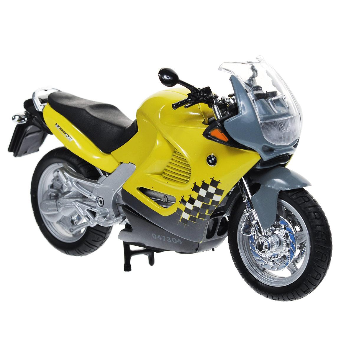 Autotime Коллекционная модель мотоцикла BMW K1200RS, цвет: желтый, серый. Масштаб 1/18 autotime коллекционная модель автомобиля saleen s7 цвет оранжевый масштаб 1 18