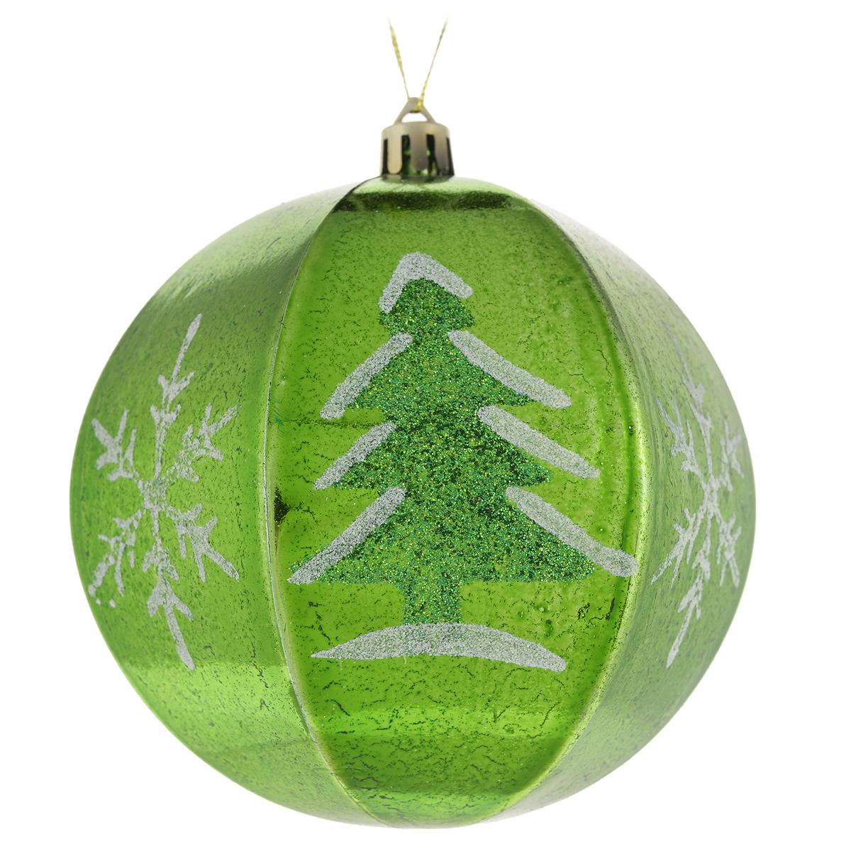 Набор новогодних подвесных украшений Sima-land Шар, цвет: зеленый, диаметр 10 см, 2 шт. 799470799470