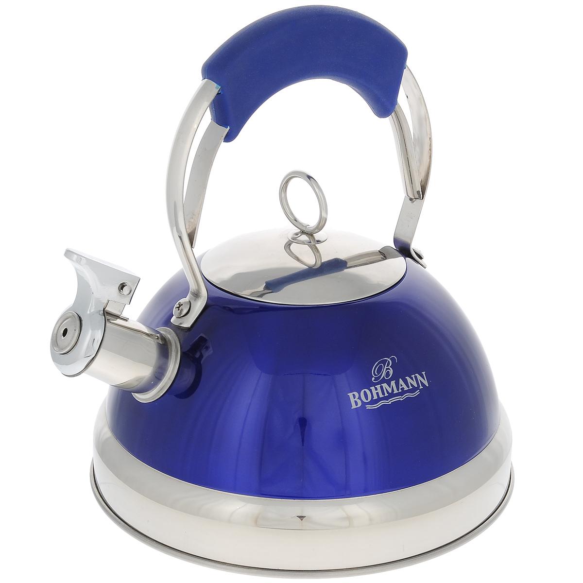 Чайник Bohmann со свистком, цвет: синий, 3 л. 9926BHNEW9926BHNEW синийЧайник Bohmann изготовлен из высококачественной нержавеющей стали с зеркальной полировкой и оформлен цветной эмалью. Нержавеющая сталь - материал, из которого в течение нескольких десятилетий во всем мире производятся столовые приборы, кухонные инструменты и различные аксессуары. Этот материал обладает высокой стойкостью к коррозии и кислотам. Прочность, долговечность и надежность этого материала, а также первоклассная обработка обеспечивают практически неограниченный запас прочности и неизменно привлекательный внешний вид. Чайник оснащен удобной ручкой с цветной силиконовой вставкой, что предотвращает появление ожогов и обеспечивает безопасность использования. Благодаря широкому верхнему отверстию, в чайник удобно заливать воду и прочищать его изнутри. Носик чайника имеет откидной свисток, который подскажет, когда вода закипела. Можно использовать на газовых, электрических, галогенных, стеклокерамических, индукционных плитах. Можно мыть в посудомоечной машине.