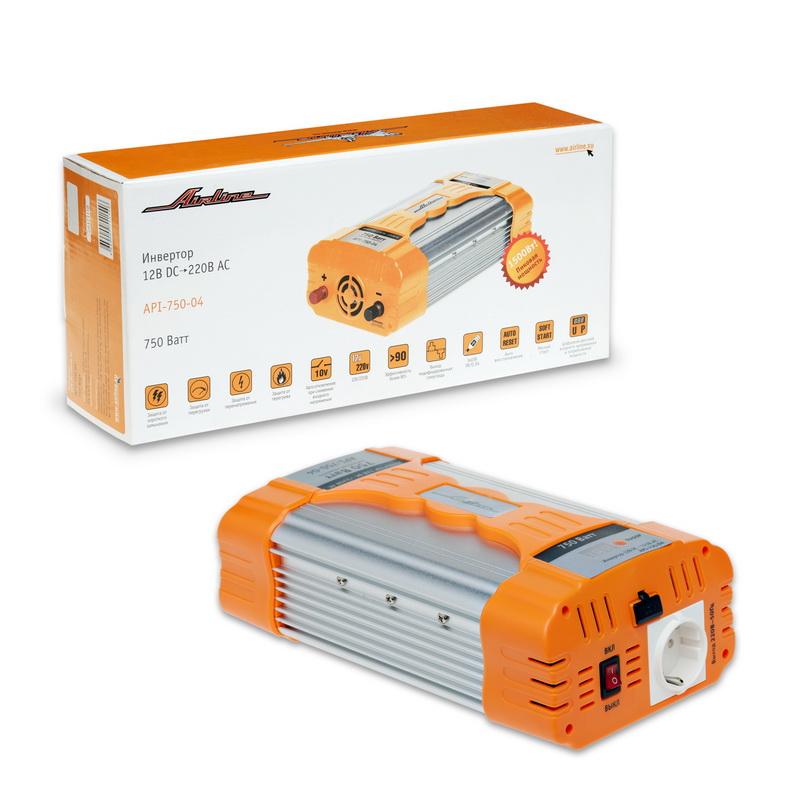 Инвертор Airline, 12В DC-220В AC, 750 ВтAPI-750-04Автомобильный преобразователь напряжения Airline (инвертор) позволяет получить переменное напряжение 220В - 50Гц от аккумулятора автомобиля. Инвертор предназначены для питания устройств с потребляемой мощностью до 750Вт, например: ноутбуков, видеокамер, DVD-плееров, зарядных устройств, электроинструментов, осветительных приборов и т.д.В инвертор встроено гнездо USB 5В для питания и зарядки мобильных устройств и гнездо прикуривателя для подключения устройств с питанием 12 вольт.Особенности:Защита от короткого замыкания.Защита от перегрузки.Защита от перегрева.Автоматическое отключение при снижении входного напряжения.Эффективность более 90%.Выход: модифицированная синусоида.Автоматическое восстановление.Мягкий старт.Цифровой дисплей входного напряжения и потребляемой мощности.