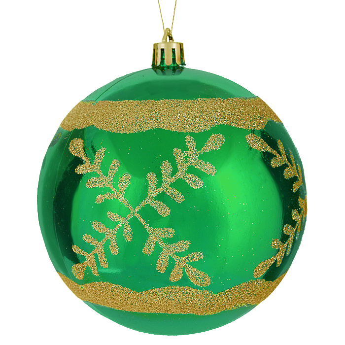 Набор новогодних подвесных украшений Sima-land Шар, цвет: зеленый, диаметр 10 см, 2 шт. 799471799471