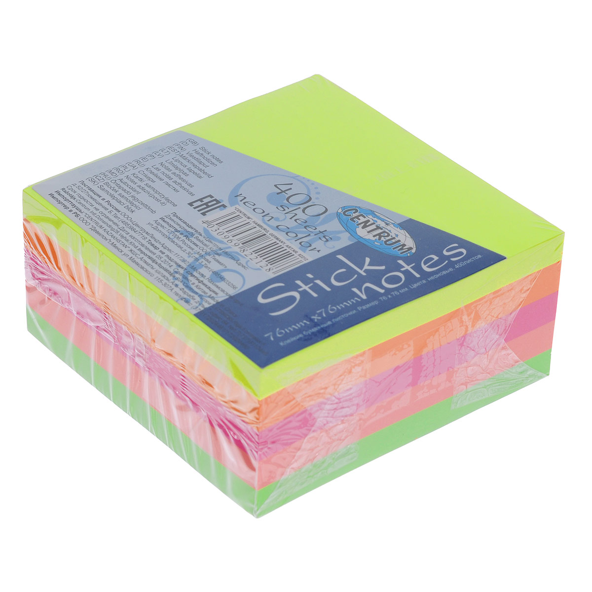 Блок для записей Centrum, с липким слоем, 7,6 см х 7,6 см82212Цветная бумага из блока Centrum идеально подойдет для важных пометок и записей. Яркие неоновые оттенки и высокое качество выделяют предлагаемую бумагу из ряда подобных. Блок состоит из 400 квадратных листочков с липким слоем оранжевого, салатового, желтого, розового и ярко-розового цветов (по 80 листочков каждого цвета).