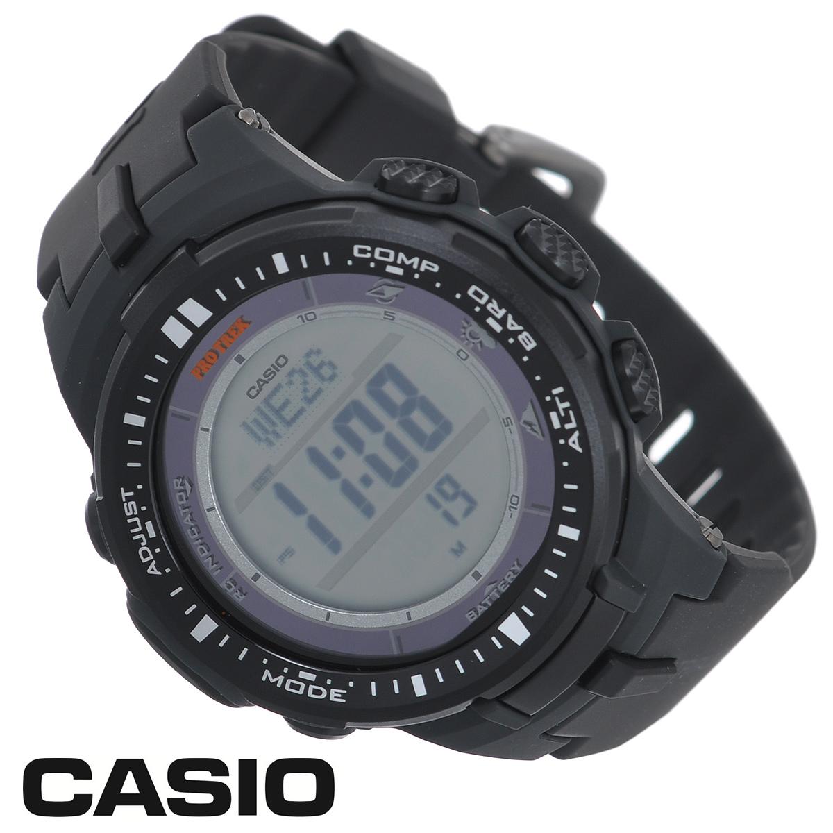 Часы мужские наручные Casio Protrek, цвет: черный, серый. PRW-3000-1E