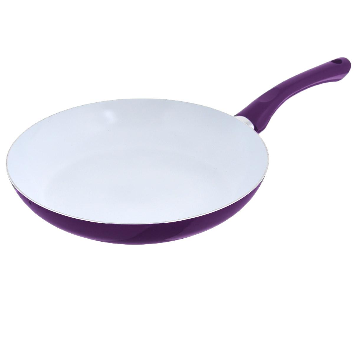 Сковорода Bekker, с керамическим покрытием, цвет: фиолетовый. Диаметр 28 см. BK-3704BK-3704Сковорода Bekker изготовлена из алюминия с внутренним керамическим покрытием. Благодаря этому пища не пригорает и не прилипает к стенкам. Готовить можно с минимальным количеством масла и жиров. Гладкая поверхность обеспечивает легкость ухода за посудой. Внешнее покрытие - цветной жаростойкий лак. Изделие оснащено удобной бакелитовой ручкой, которая не нагревается в процессе готовки.Сковорода подходит для использования на всех типах кухонных плит, кроме индукционных, а также ее можно мыть в посудомоечной машине. Высота стенки: 5 см.Толщина стенки: 2,5 мм.Толщина дна: 2,5 мм.Длина ручки: 18 см.Диаметр основания: 20 см.
