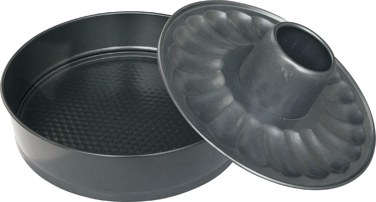"""Набор форм для выпечки """"Bekker"""" состоит из формы для пирога, формы для кекса и съемной стенки. Изделия   выполнены из высококачественной углеродистой стали. Антипригарное покрытие Goldflon не позволяет пище   пригорать и прилипать к поверхности. Специальный разъемный механизм позволяет легко достать выпечку из   формы и сохранить ее целой. В комплекте имеется специальная форма для приготовления кекса и плоская форма   для приготовления пирога. Набор подходит для использования в духовом шкафу. Можно мыть в посудомоечной машине.   Диаметр формы для пирога/кекса: 26 см. Высота стенки: 7 см. Толщина стенки: 0,4 мм."""