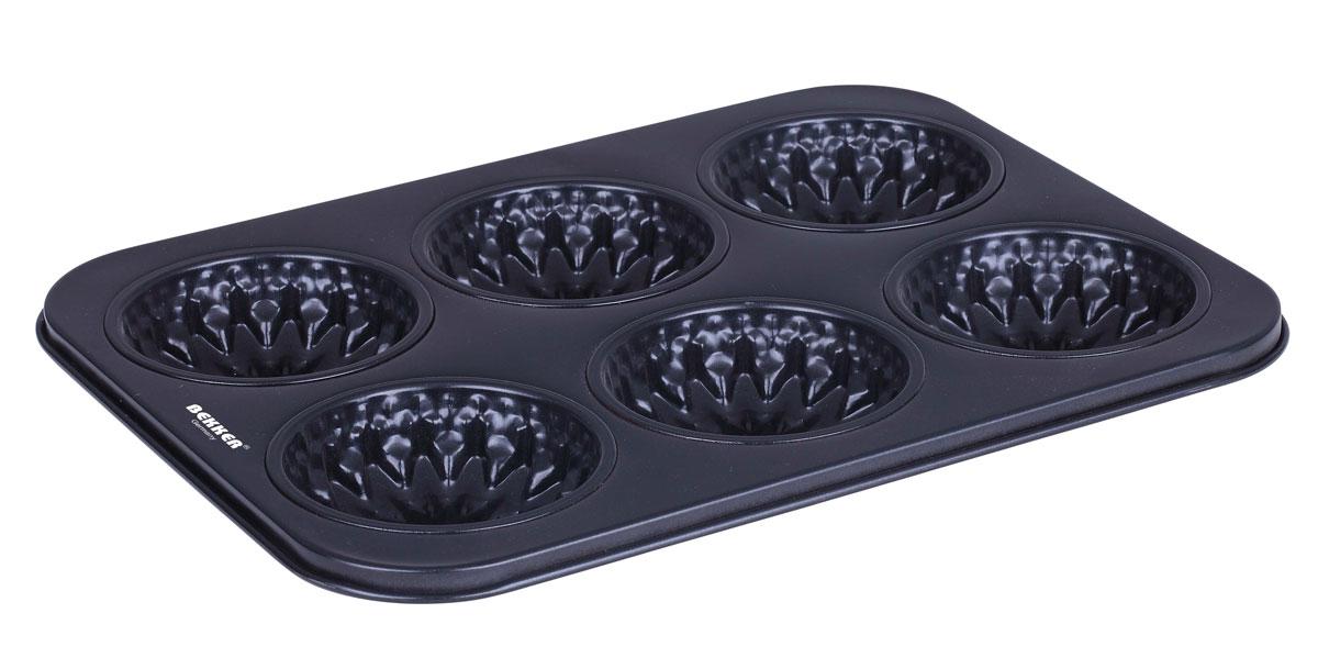 Форма для выпечки Bekker, с антипригарным покрытием, 6 ячеек, 26,5 х 18 х 1,8 смBK-3947Форма для выпечки Bekker изготовлена из высококачественной углеродистой стали. Антипригарное покрытие Kingflon не позволяет пище пригорать и прилипать к поверхности, поэтому готовая выпечка очень легко вынимается. Форма содержит 6 ячеек с рельефным дном, что идеально подходит для приготовления различных пирожных и кексов. Подходит для использования в духовом шкафу. Рекомендована ручная чистка. Общий размер формы (ДхШхВ): 26,5 см х 18 см х 1,8 см. Диаметр ячейки: 7 см. Толщина стенки: 0,4 мм.