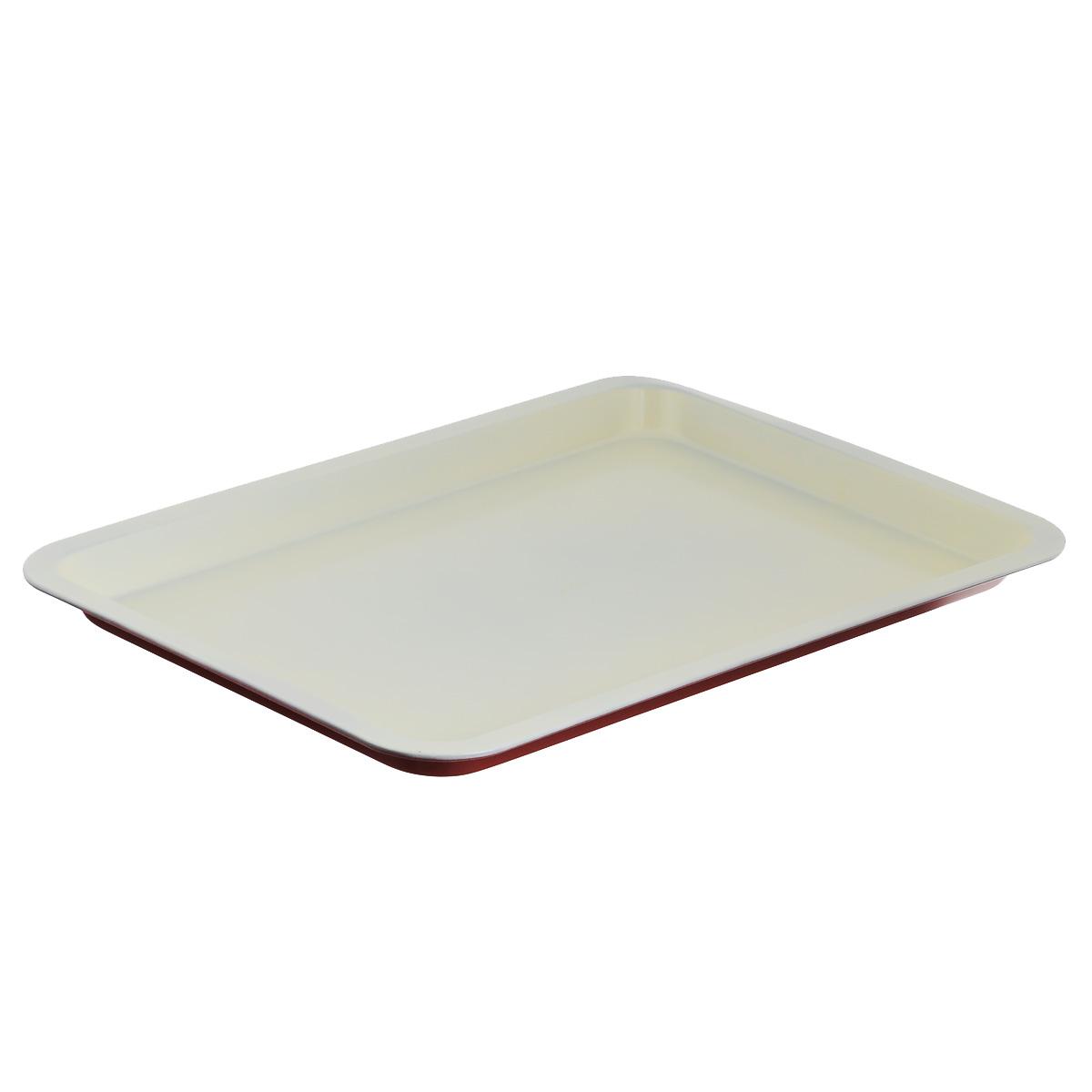 Противень Bekker, с керамическим покрытием, прямоугольный, цвет: красный, белый, 46,5 х 32,5 смBK-3973Прямоугольный противень Bekker изготовлен из углеродистой стали с антипригарным керамическим покрытием Pfluon, благодаря чему пища не пригорает и не прилипает к стенкам посуды. Снаружи противня цветноежаропрочное покрытие. Кроме того, готовить можно с добавлением минимального количества масла и жиров. Антипригарное покрытие также обеспечивает легкость мытья. Стенки ровные.Для чистки нельзя использовать абразивные чистящие средства и жесткие губки. Подходит для использования в духовом шкафу. Нельзя мыть в посудомоечной машине.