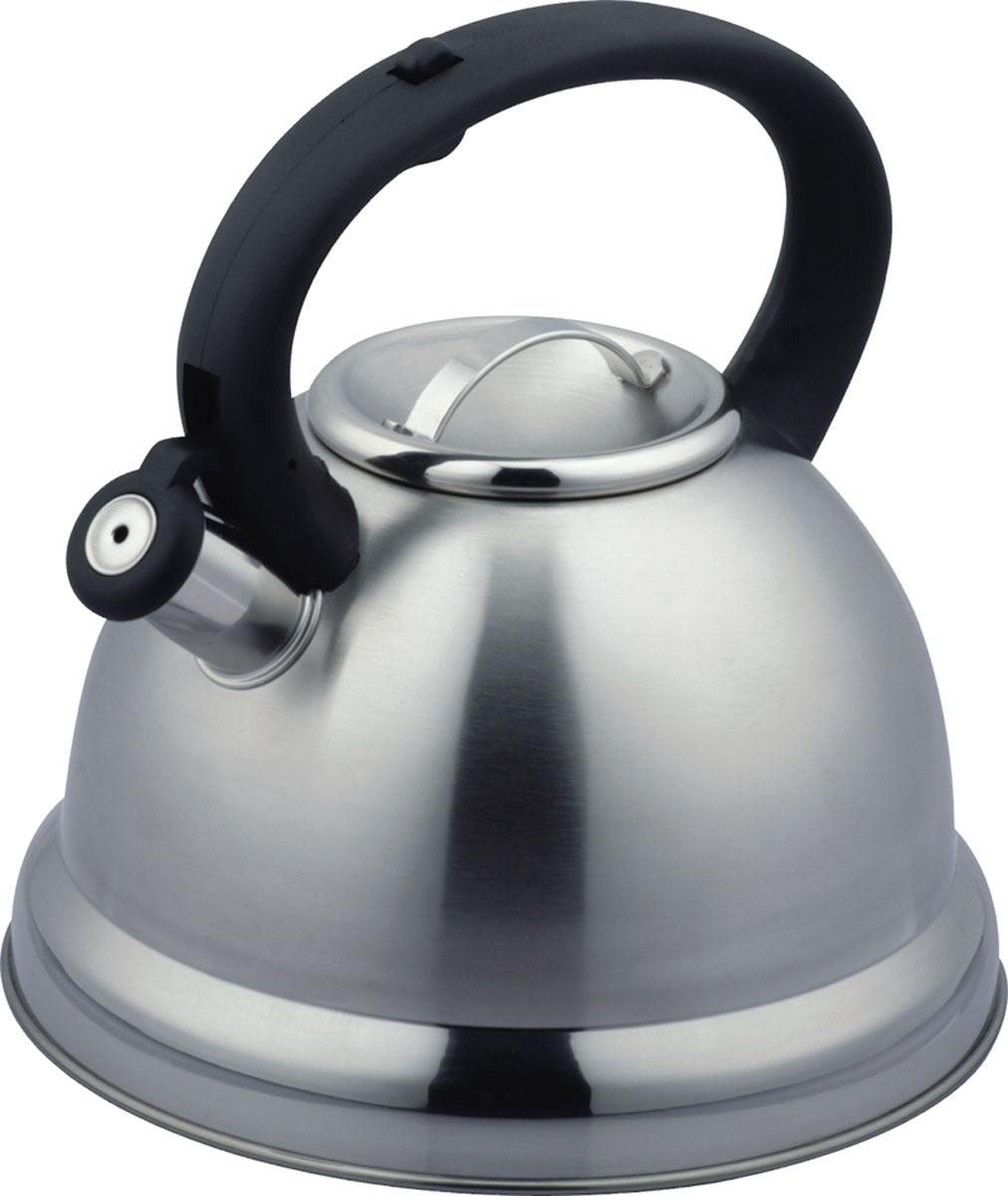 """Чайник Bekker """"De Luxe"""" изготовлен из высококачественной нержавеющей стали 18/10. Поверхность матовая с зеркальной полосой по нижнему краю. Капсулированное дно распределяет тепло по всей поверхности, что позволяет чайнику быстро закипать. Эргономичная фиксированная рукоятка выполнена из бакелита черного цвета. Носик оснащен откидным свистком, который подскажет, когда вода закипела. Свисток открывается и закрывается нажатием кнопки на рукоятке. Оригинальный дизайн эффектно оформит интерьер кухни.Подходит для всех типов плит, включая индукционные. Можно мыть в посудомоечной машине."""