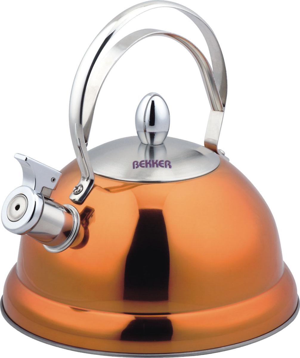 Чайник Bekker De Luxe со свистком, цвет: оранжевый, 2,6 л. BK-S427BK-S427Чайник Bekker De Luxe изготовлен из высококачественной нержавеющей стали 18/10 с цветным зеркальным покрытием. Капсулированное дно распределяет тепло по всей поверхности, что позволяет чайнику быстро закипать. Ручка фиксированная. Носик оснащен откидным свистком, который подскажет, когда вода закипела. Свисток открывается и закрывается рычагом на носике. Подходит для всех типов плит, включая индукционные. Можно мыть в посудомоечной машине.
