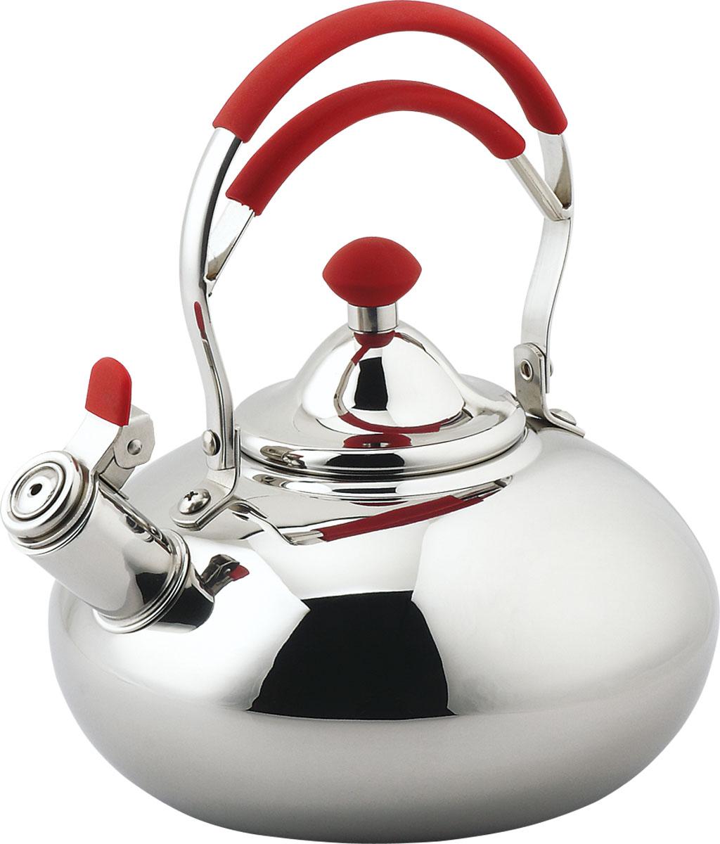 Чайник Bekker De Luxe со свистком, цвет: красный, 3 л. BK-S436BK-S436Чайник Bekker De Luxe изготовлен из высококачественной нержавеющей стали с зеркальной полировкой. Цельнометаллическое дно распределяет тепло по всей поверхности, что позволяет чайнику быстро закипать. Ручка подвижная выполненная из нержавеющей стали со вставками из прорезиненного бакелита красного цвета. Носик оснащен откидным свистком, который подскажет, когда вода закипела.Подходит для всех типов плит, включая индукционные. Можно мыть в посудомоечной машине.