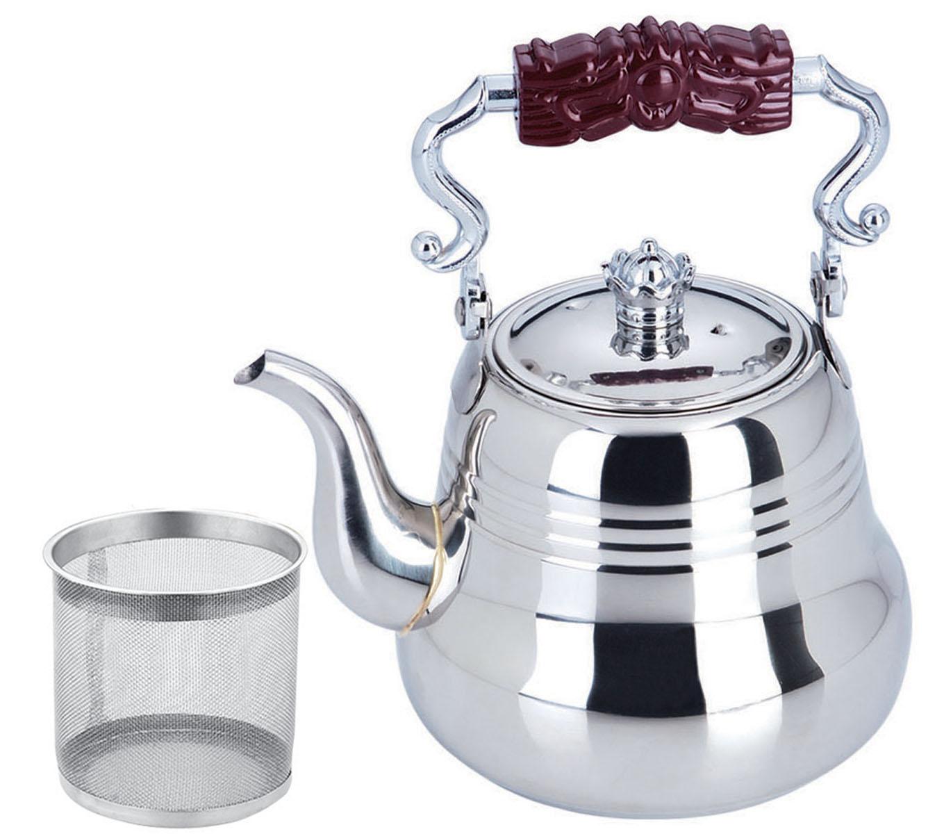 Чайник заварочный Bekker, с ситечком, 1,5 лBK-S497Чайник Bekker выполнен из высококачественной нержавеющей стали, что обеспечивает долговечность использования. Внешнее зеркальное покрытие придает приятный внешний вид. Бакелитовая ручка делает использование чайника очень удобным и безопасным. Чайник снабжен ситечком для заваривания. Можно мыть в посудомоечной машине. Пригоден для всех видов плит, включая индукционные. Высота чайника (без учета крышки и ручки): 10,5 см.Диаметр основания: 11,7 см. Толщина стенки: 0,4 мм.Толщина дна: 1 мм.Высота ситечка: 6 см.