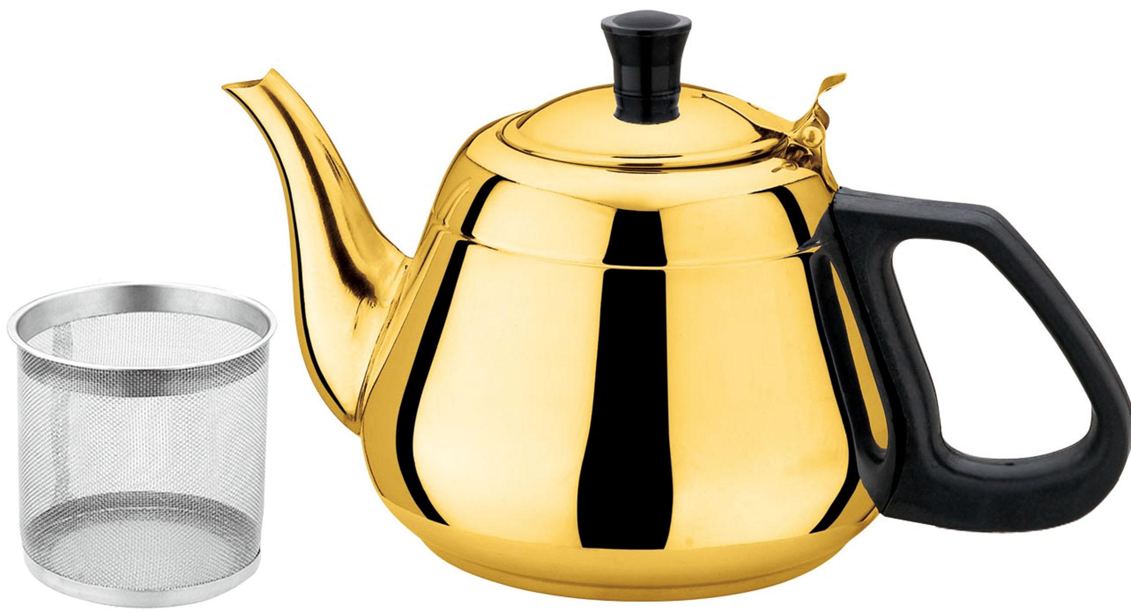 Чайник заварочный Bekker Koch, с ситечком, цвет: золотистый, 1,3 л. BK-S503BK-S503Чайник Bekker Koch выполнен из высококачественной нержавеющей стали, что обеспечивает долговечность использования. Внешнее зеркальное покрытие придает приятный внешний вид. Бакелитовая ручкаделает использование чайника очень удобным и безопасным. Чайник снабжен ситечком для заваривания. Можно мыть в посудомоечной машине. Пригоден для всех видов плит, включая индукционные. Диаметр (по верхнему краю): 6,5 см.Высота чайника (без учета крышки и ручки): 10 см.Диаметр основания: 11 см. Толщина стенки: 0,4 мм.Толщина дна: 1 мм.Высота ситечка: 7,3 см.