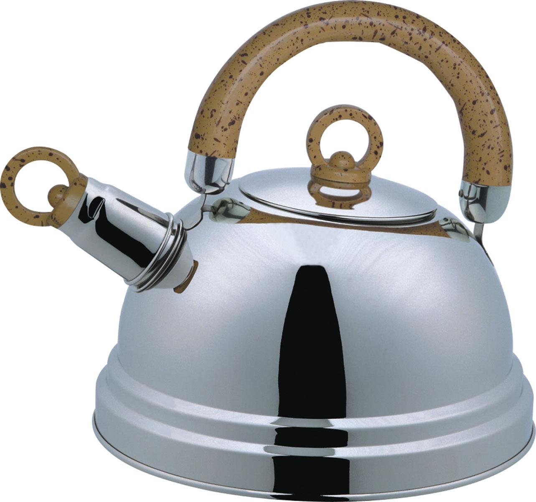 Чайник Bekker De Luxe со свистком, 2,5 л. BK-S367M (12)BK-S367M (12)Чайник Bekker De Luxe изготовлен из высококачественной нержавеющей стали с зеркальной полировкой. Капсулированное дно распределяет тепло по всей поверхности, что позволяет чайнику быстро закипать. Эргономичная подвижная ручка выполнена из бакелита оригинального дизайна. Носик оснащен съемным свистком, который подскажет, когда вода закипела. Подходит для всех типов плит, кроме индукционных. Можно мыть мыть в посудомоечной машине.Диаметр (по верхнему краю): 8,5 см. Диаметр основания: 20,5 см. Толщина стенок: 0,4 мм.Высота чайника (без учета ручки): 12 см. Высота чайника (с учетом ручки): 22,5 см.
