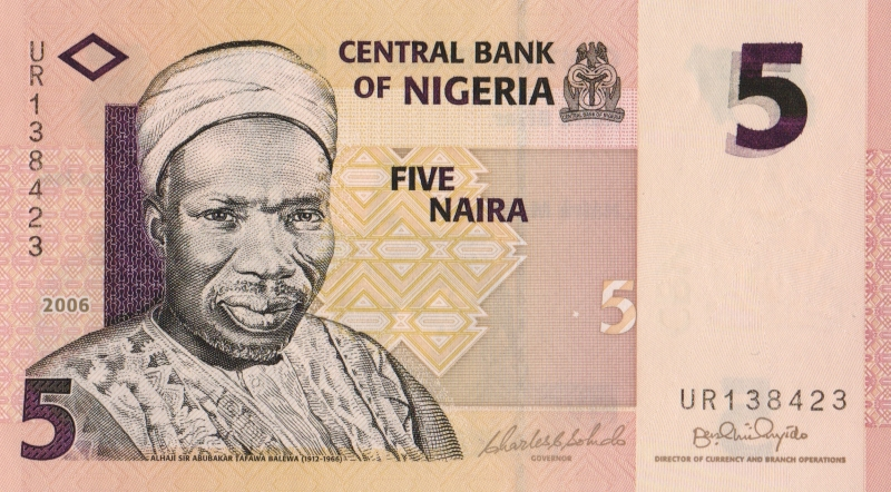 Банкнота номиналом 5 найра. Нигерия, 2006 год
