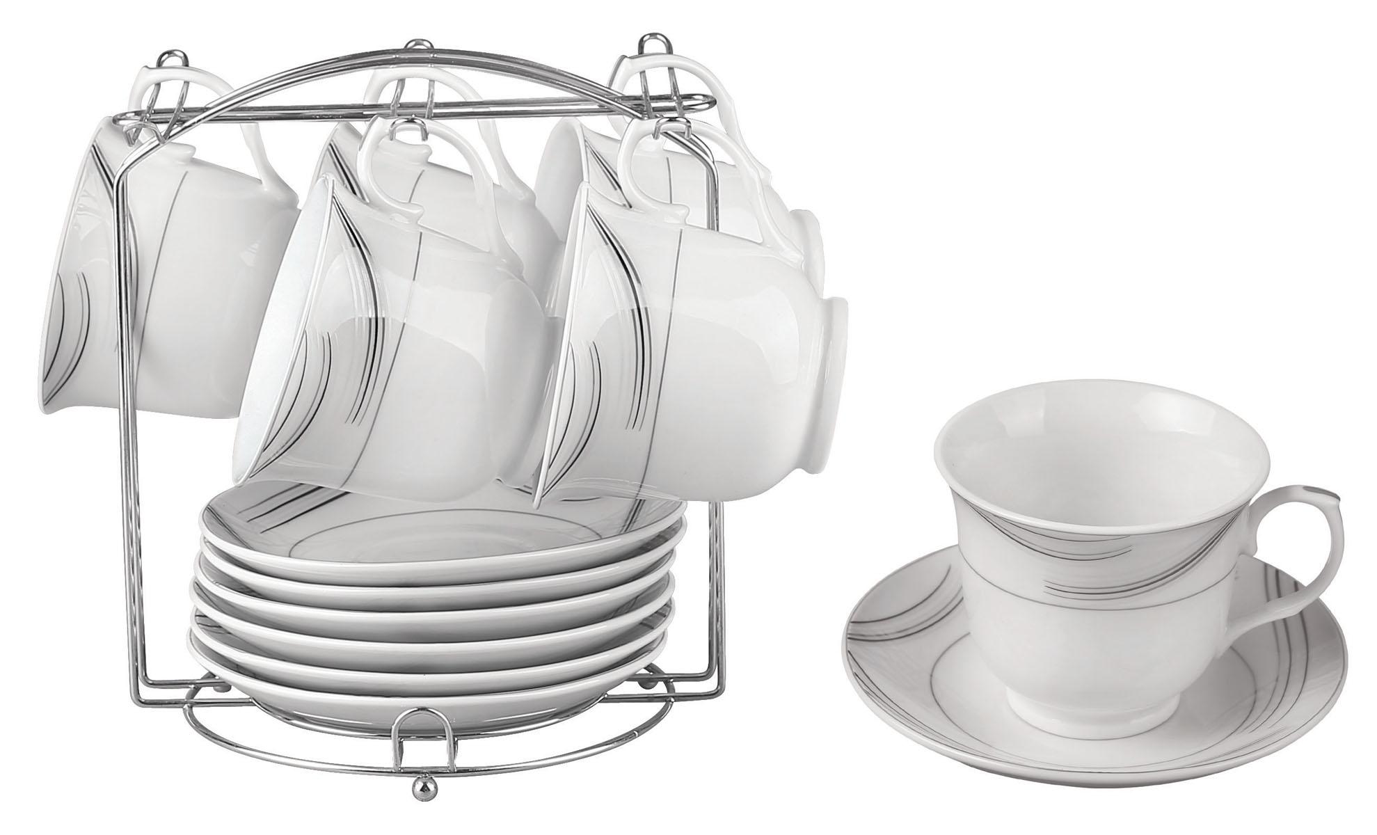 Набор чайный Bekker, 13 предметов. BK-6803 (8)590-001Чайный набор Bekker состоит из 6 чашек, 6 блюдец и металлической подставки. Изделия выполнены из высококачественного фарфора белого цвета, украшенного изящными узорами серебристой эмалью. Для предметов набора предусмотрена специальная металлическая подставка с крючками для чашек и подставкой для блюдец.Изящный чайный набор прекрасно оформит стол к чаепитию и станет замечательным подарком для любой хозяйки. Можно мыть в посудомоечной машине.Объем чашки: 220 мл.Диаметр чашки (по верхнему краю): 9 см.Высота чашки: 7,5 см.Диаметр блюдца: 14 см.