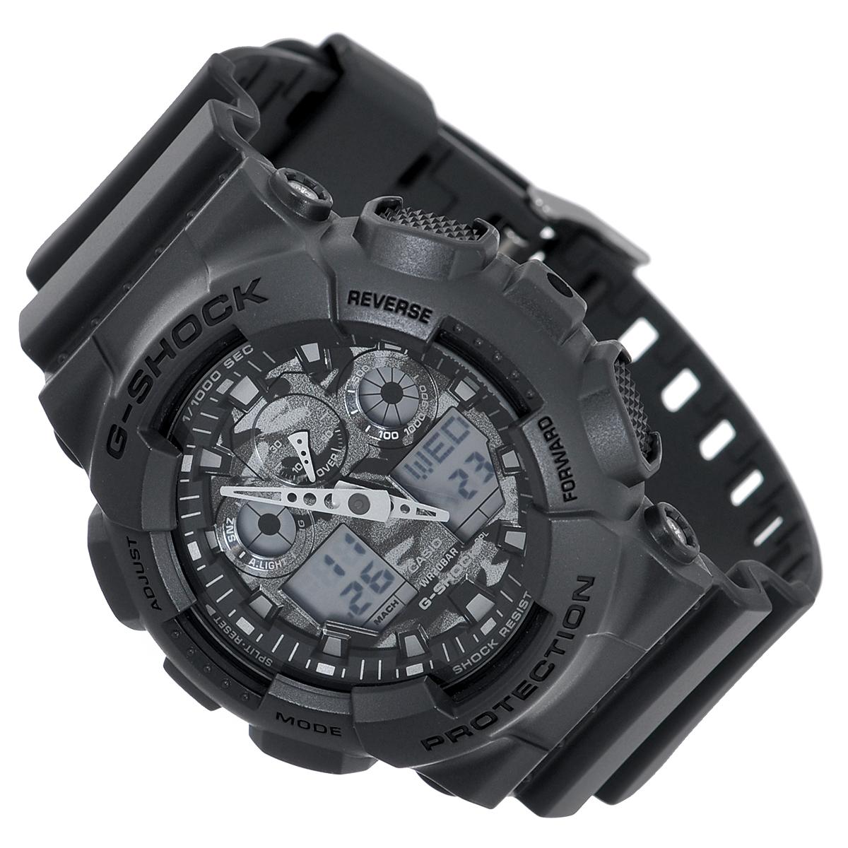 Часы мужские наручные Casio G-Shock, цвет: темно-серый. GA-100CF-8AGA-100CF-8AСтильные кварцевые часы G-Shock от японского брэнда Casio - это яркий функциональный аксессуар для современных людей, которые стремятся выделиться из толпы и подчеркнуть свою индивидуальность. Часы выполнены в спортивном стиле. Корпус имеет ударопрочную конструкцию, защищающую механизм от ударов и вибрации. Циферблат с отметками и двумя стрелками подсвечивается светодиодом. Функция автоподсветки освещает циферблат при повороте часов к лицу. Ремешок из пластика имеет классическую застежку.Основные функции: -5 будильников, один из которых с функцией Snooze, ежечасный сигнал; -автоматический календарь (число, месяц, день недели, год); -секундомер с точностью показаний 1/1000 с и временем измерения 100 ч; -12-ти и 24-х часовой формат времени; -таймер обратного отсчета от 1 мин до 24 ч с автоповтором; -мировое время; -сплит-хронограф; -защита от магнитных полей;-измерение скорости и расстояния. Часы упакованы в фирменную коробку с логотипом Casio. Такой аксессуар добавит вашему образу стиля и подчеркнет безупречный вкус своего владельца.Характеристики: Диаметр циферблата: 3,8 см.Размер корпуса: 5,5 см х 5,1 см х 1,7 см.Длина ремешка (с корпусом): 25 см.Ширина ремешка: 2,2 см. STAINLESS STELL BACK JAPAN MOVT EL CASED IN THAILAND.