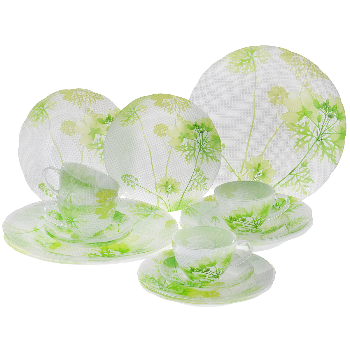 Набор посуды Яркие цветы, 20 предметов10013GНабор посуды состоит из 4 чашек, 4 блюдец, 4 тарелок для супа, 4 обеденных тарелок, 4 десертных тарелок. Изделия выполнены из высококачественного стекла и оформлены изображением цветов. Этот набор эффектно украсит стол к обеду, а также прекрасно подойдет для торжественных случаев. Красочность оформления придется по вкусу и ценителям классики, и тем, кто предпочитает утонченность и изящность.