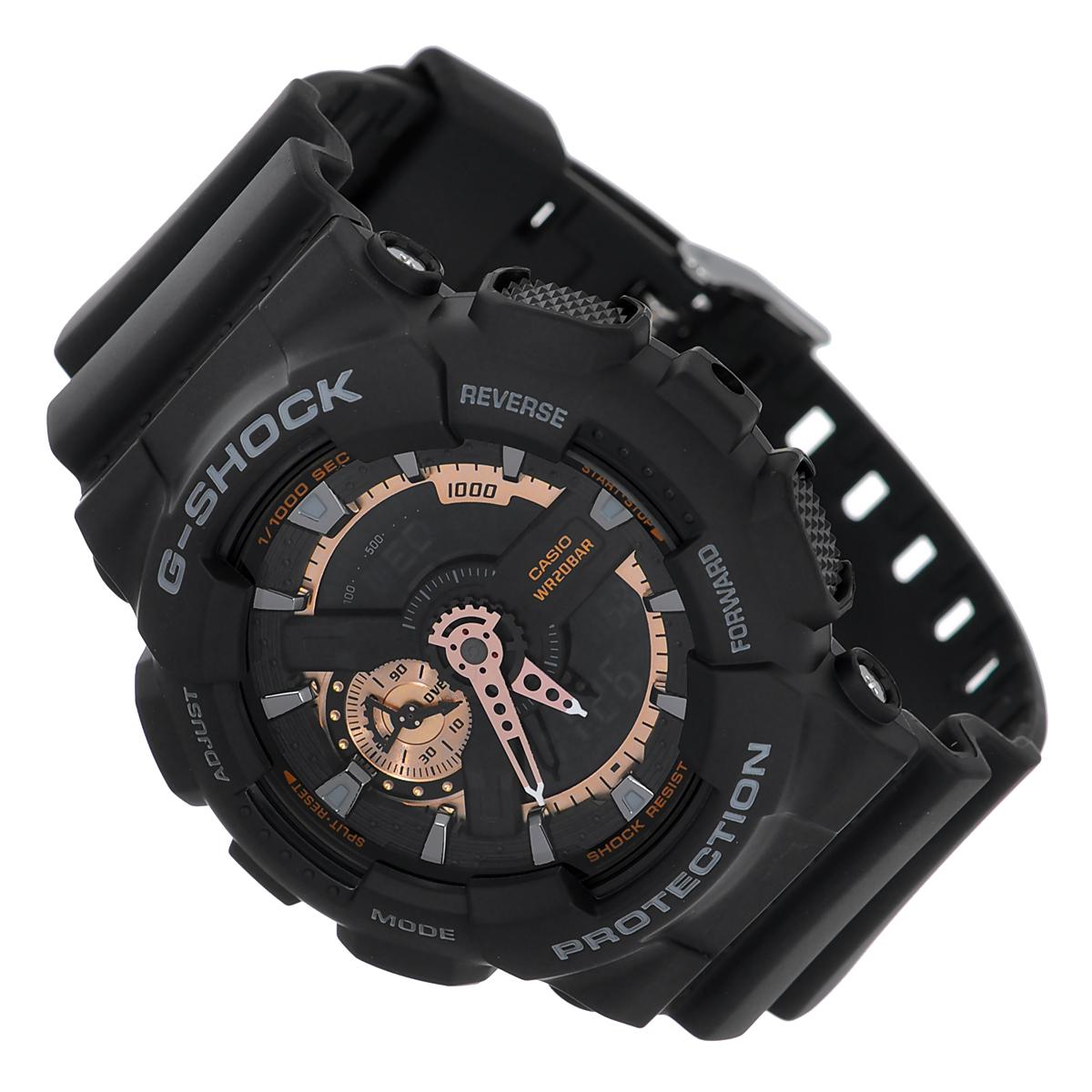 Часы мужские наручные Casio G-Shock, цвет: черный. GA-110RG-1AGA-110RG-1AСтильные часы G-Shock от японского брэнда Casio - это яркий функциональный аксессуар для современных людей, которые стремятся выделиться из толпы и подчеркнуть свою индивидуальность. Часы выполнены в спортивном стиле. Корпус имеет ударопрочную конструкцию, защищающую механизм от ударов и вибрации. Циферблат подсвечивается светодиодом, функция автоподсветки освещает циферблат при повороте часов к лицу. Ремешок из мягкого пластика имеет классическую застежку.Основные функции:-5 будильников, один с функцией повтора сигнала (чтобы отложить пробуждение), ежечасный сигнал;-автоматический календарь (число, месяц, день недели, год);-секундомер с точностью показаний 1/1000 с, время измерения 100 часов;-12-ти и 24-х часовой формат времени;-таймер обратного отсчета от 1 мин до 24 ч с автоповтором;-мировое время;-сплит-хронограф;-защита от магнитных полей.Часы упакованы в фирменную коробку с логотипом Casio. Такой аксессуар добавит вашему образу стиля и подчеркнет безупречный вкус своего владельца.Характеристики:Диаметр циферблата: 3,7 см. Размер корпуса: 5,5 см х 5,1 см х 1,7 см. Длина ремешка (с корпусом): 25 см. Ширина ремешка: 2,2 см.STAINLESS STELL BACK JAPAN MOVT EL CASED IN CHINA.