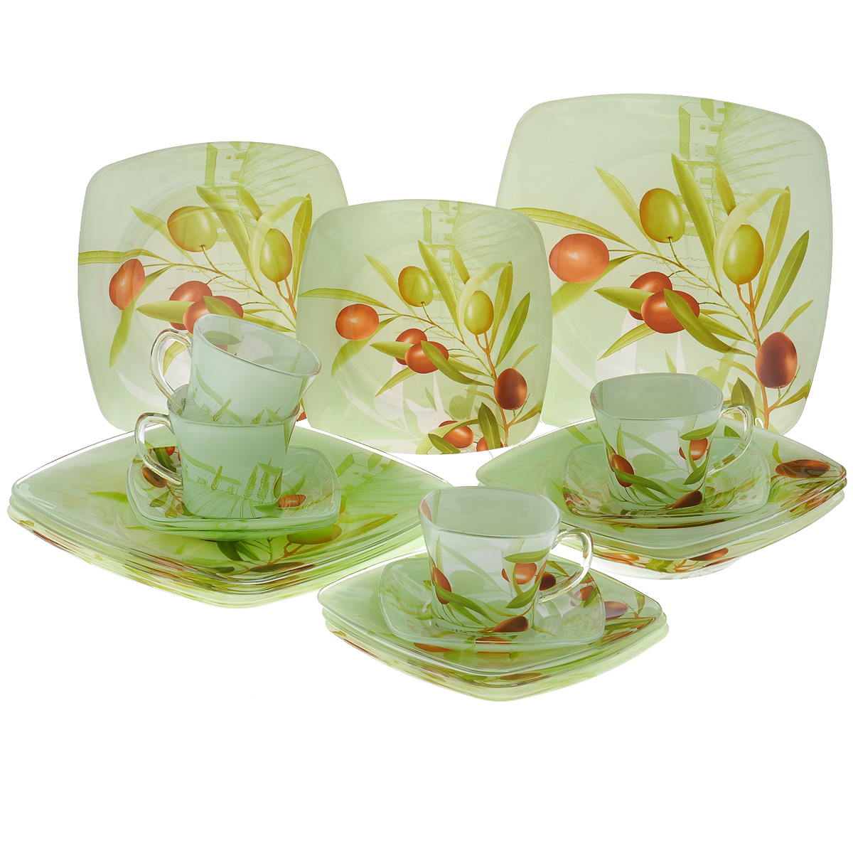 Набор посуды Оливки, 20 предметов10151-20Набор посуды состоит из 4 чашек, 4 блюдец, 4 тарелок для супа, 4 обеденных тарелок, 4 десертных тарелок. Изделия выполнены из высококачественного стекла и оформлены изображением веток с оливками. Этот набор эффектно украсит стол к обеду, а также прекрасно подойдет для торжественных случаев. Красочность оформления придется по вкусу и ценителям классики, и тем, кто предпочитает утонченность и изящность.Размер чашки по верхнему краю: 8 см х 8 см.Высота чашки: 6,5 см.Объем чашки: 200 мл.Размер блюдца: 13 см х 13 см.Размер десертной тарелки: 17 см х 17 см.Размер суповой тарелки: 19,5 см х 19,5 см.Размер обеденной тарелки: 23,5 см х 23,5 см.