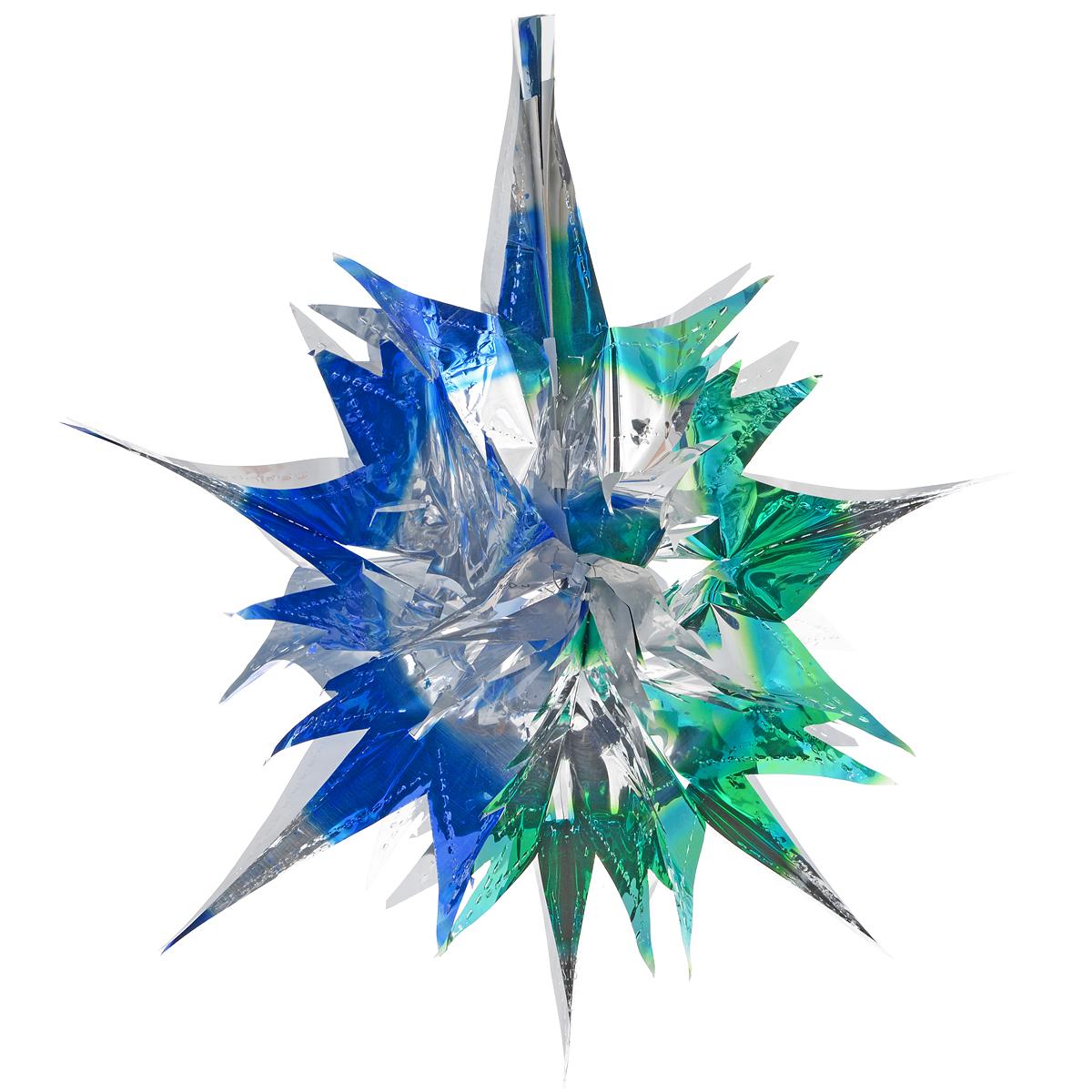Новогоднее подвесное украшение Звезда, цвет: серебристый, синий, зеленый. 2700927009Новогоднее украшение Звезда отлично подойдет для декорации вашего дома и новогодней ели. Украшение выполнено из ПВХ в форме многогранной многоцветной звезды. С помощью специальной петельки звезду можно повесить в любом понравившемся вам месте. Украшение легко складывается и раскладывается благодаря металлическим кольцам. Новогодние украшения несут в себе волшебство и красоту праздника. Они помогут вам украсить дом к предстоящим праздникам и оживить интерьер по вашему вкусу. Создайте в доме атмосферу тепла, веселья и радости, украшая его всей семьей. Коллекция декоративных украшений из серии Magic Time принесет в ваш дом ни с чем не сравнимое ощущение волшебства!Размер украшения (в сложенном виде): 25 см х 21,5 см.