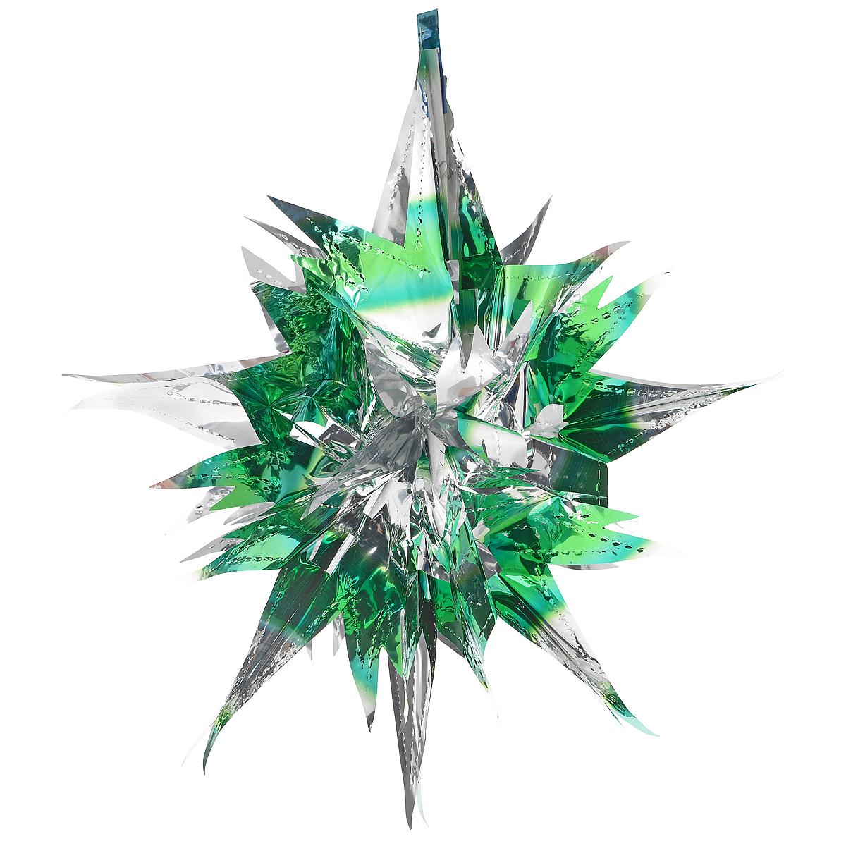 """Новогоднее украшение """"Звезда"""" отлично подойдет для декорации вашего дома и  новогодней ели. Украшение выполнено из ПВХ в форме многогранной  многоцветной звезды. С помощью специальной петельки звезду можно повесить  в любом понравившемся вам месте. Украшение легко складывается и  раскладывается благодаря металлическим кольцам.  Новогодние украшения несут в себе волшебство и красоту праздника. Они  помогут вам украсить дом к предстоящим праздникам и оживить интерьер по  вашему вкусу. Создайте в доме атмосферу тепла, веселья и радости, украшая его  всей семьей.   Коллекция декоративных украшений из серии """"Magic Time"""" принесет в ваш дом ни  с чем не сравнимое ощущение волшебства! Размер украшения (в сложенном виде): 25 см х 21,5 см."""