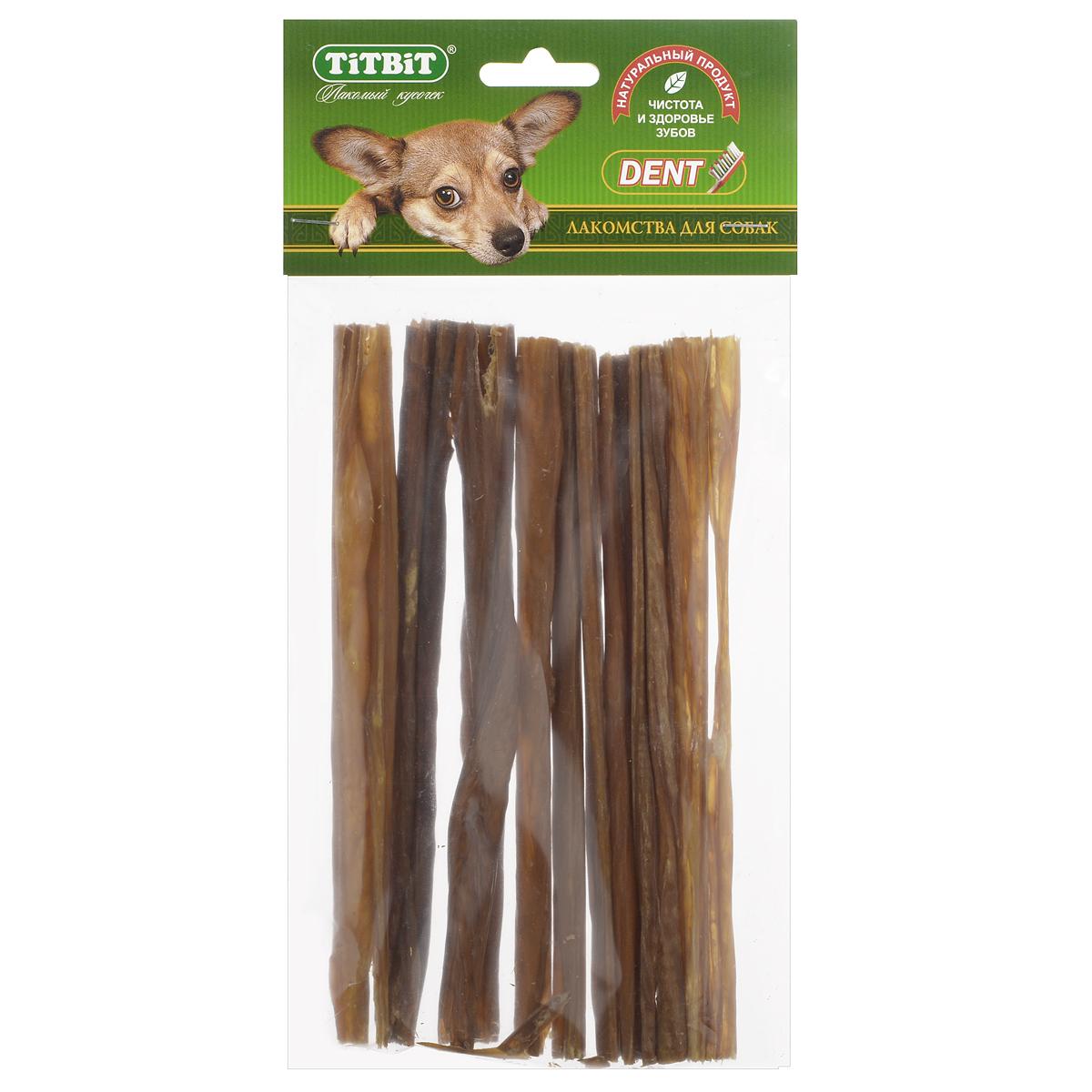 Лакомство для собак Titbit, кишки говяжьи, длина 19 см3987Лакомство для собак Titbit изготовлено из высушенных говяжьих кишков. Упаковка содержит 12-16 штук длиной 19 см. Легкоусвояемое лакомство, богатое витаминами и ферментами микрофлоры кишечника крупного рогатого скота. Имеют большую энергетическую ценность из-за повышенного содержания жира. Богаты протеинами, которые содержат все незаменимые аминокислоты и потому усваиваются на 90-95%. Содержат минеральные вещества в большем количестве, чем все остальные продукты (в том числе кальций, магний и фосфор), жирорастворимые витамины, а также водорастворимые витамины. Рекомендации к применению: очищает зубы у мелких пород собак, продукт полезен для стимуляции пищеварения. Рекомендовано для профилактики витаминного и ферментного дефицита у собак всех пород. Кишки - лакомства очень концентрированные, насыщенные ферментами и богатые жиром. Они не предназначены для частого применения (2, максимум 3 раза в неделю при хорошей переносимости, а также в зависимости от рациона собаки). По той же причине они рекомендованы к применению не ранее чем с 6-месячного возраста. Не рекомендовано давать данный вид лакомств на голодный желудок. Состав: высушенные говяжьи кишки.Товар сертифицирован.