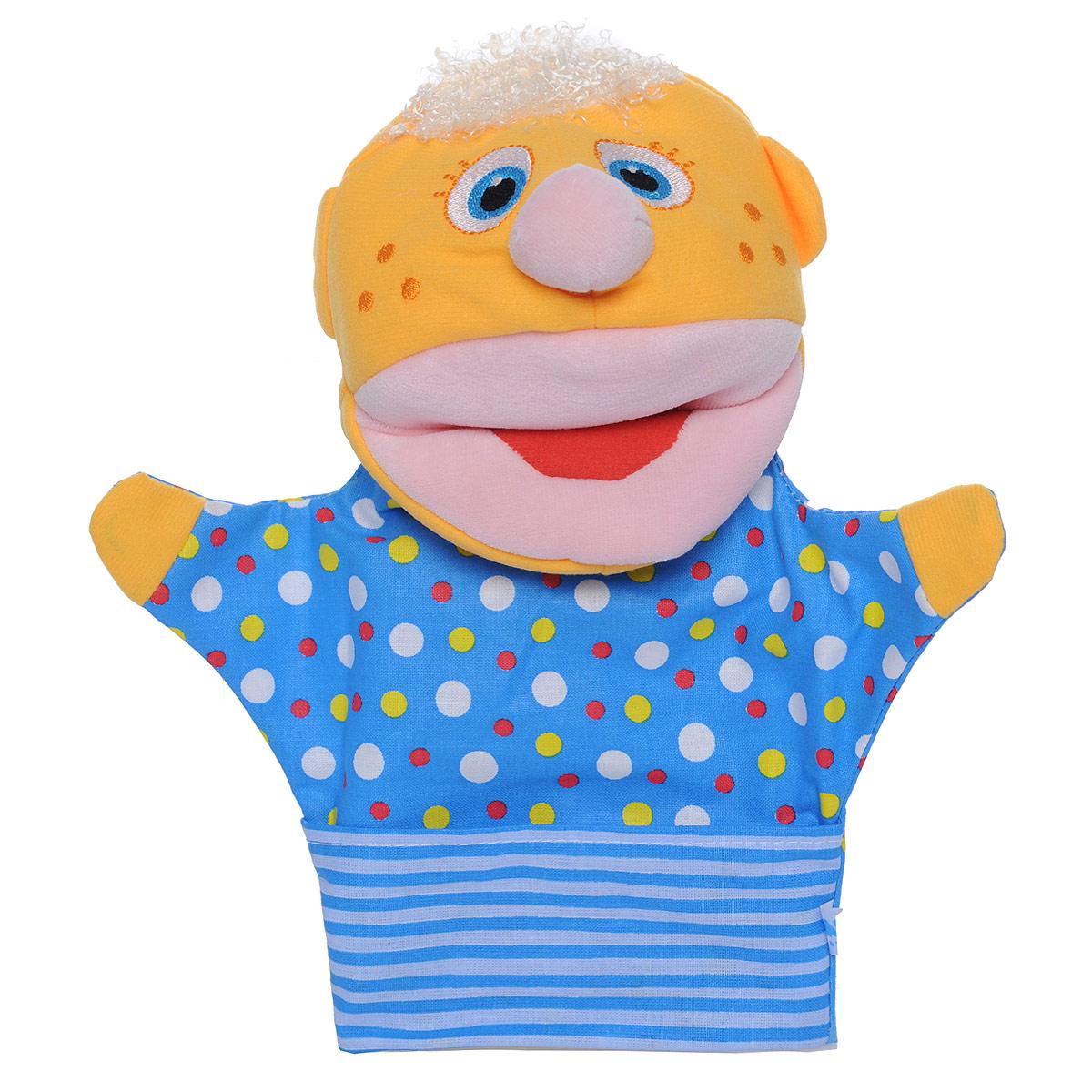 Мягкая игрушка на руку Мякиши Нямлик, 26 см, цвет: желтый, синий мякиши мягкая книжка игрушка веселое