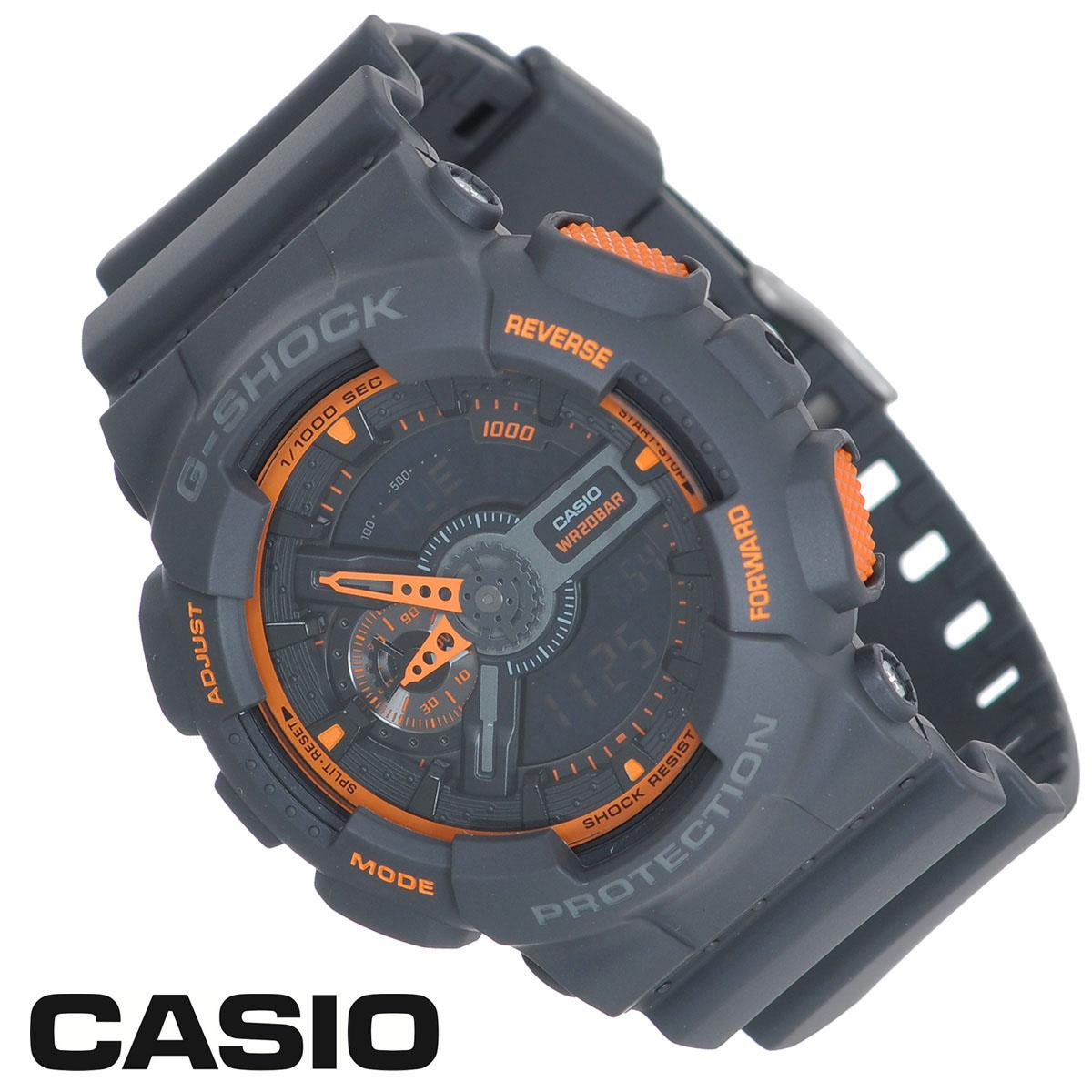 Часы мужские наручные Casio G-Shock, цвет: темно-серый, оранжевый. GA-110TS-1A4 часы наручные casio часы baby g ba 120tr 7b