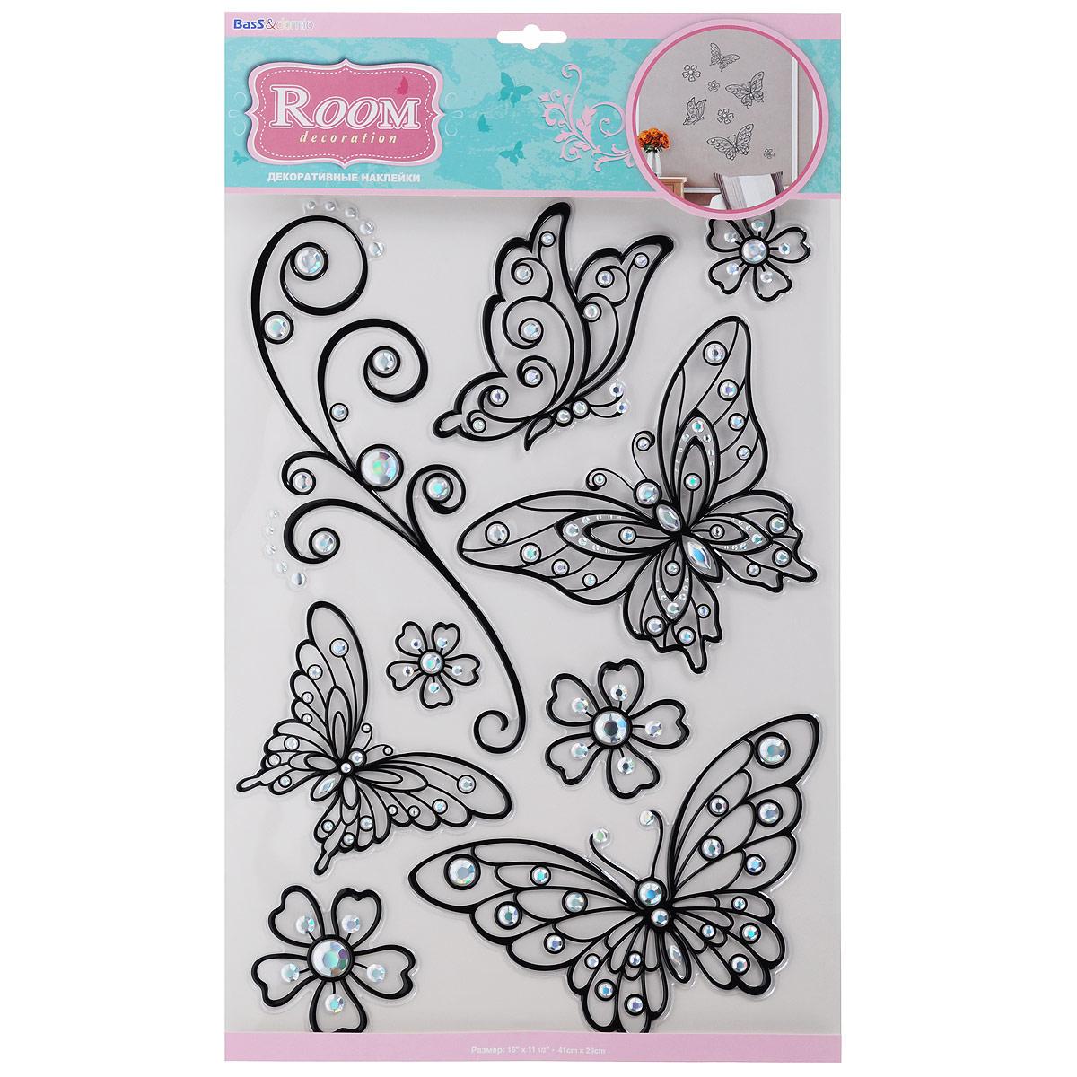 Наклейки для интерьера Room Decoration Бабочки, цвет: черный, 41 х 29 смPOA5803