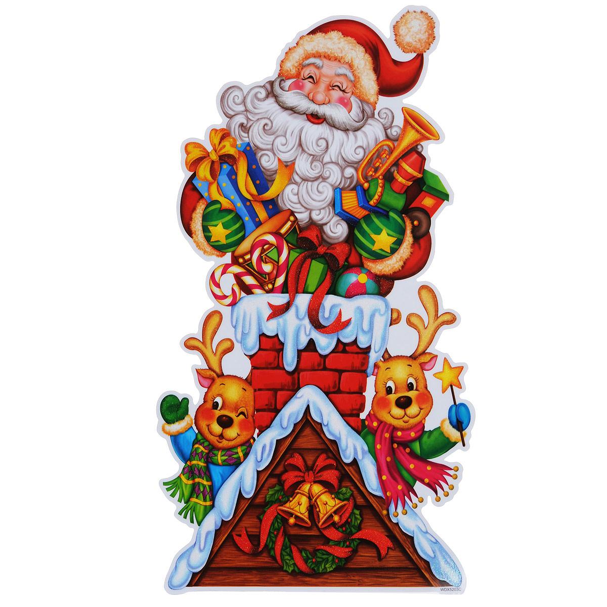 Новогоднее оконное украшение Room Decoration Дед Мороз и оленята, 42 х 24 смWDX5203CНовогоднее оконное украшение Room Decoration Дед Мороз и оленята поможет украсить дом к предстоящим праздникам. На одном листе расположены одна наклейка в виде изображения деда мороза с оленятами. Яркие изображения нанесенына прозрачную виниловую пленку и крепятся к гладкой поверхности стекла посредством статического эффекта. Наклейки декорированы блестками. Наклейки не содержат клея, не оставляют следов и идеальны для многоразового использования. Также имеется инструкция на русском языке.Новогодние украшения всегда несут в себе волшебство и красоту праздника. Создайте в своем доме атмосферу тепла, веселья и радости, украшая его всей семьей.Материал: виниловая пленка. Размер листа: 42 см х 24 см. Размер наклейки: 41,5 см х 22,5 см.