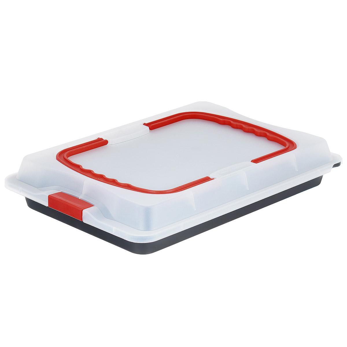 Противень Dr.Oetker Bake&Go с крышкой, с антипригарным покрытием, 29 х 42 см1012Противень Dr.Oetker Bake&Go изготовлен из углеродистой стали с антипригарным покрытием Teflon. Пища не пригорает и не прилипает к стенкам, что облегчает процесс сервировки и мытья. Изделие имеет прямоугольную форму и прекрасно подходит для приготовления запеканок, жаркое, тушения мяса и овощей. Такой противень предназначен для выпечки и переноса кулинарных изделий.Противень оснащен пластиковой прозрачной крышкой, которая плотно закрывается на две защелки и оснащена двумя ручками. Можно мыть в посудомоечной машине и использовать в духовом шкафу. Противень выдерживает температуру до 230°C.