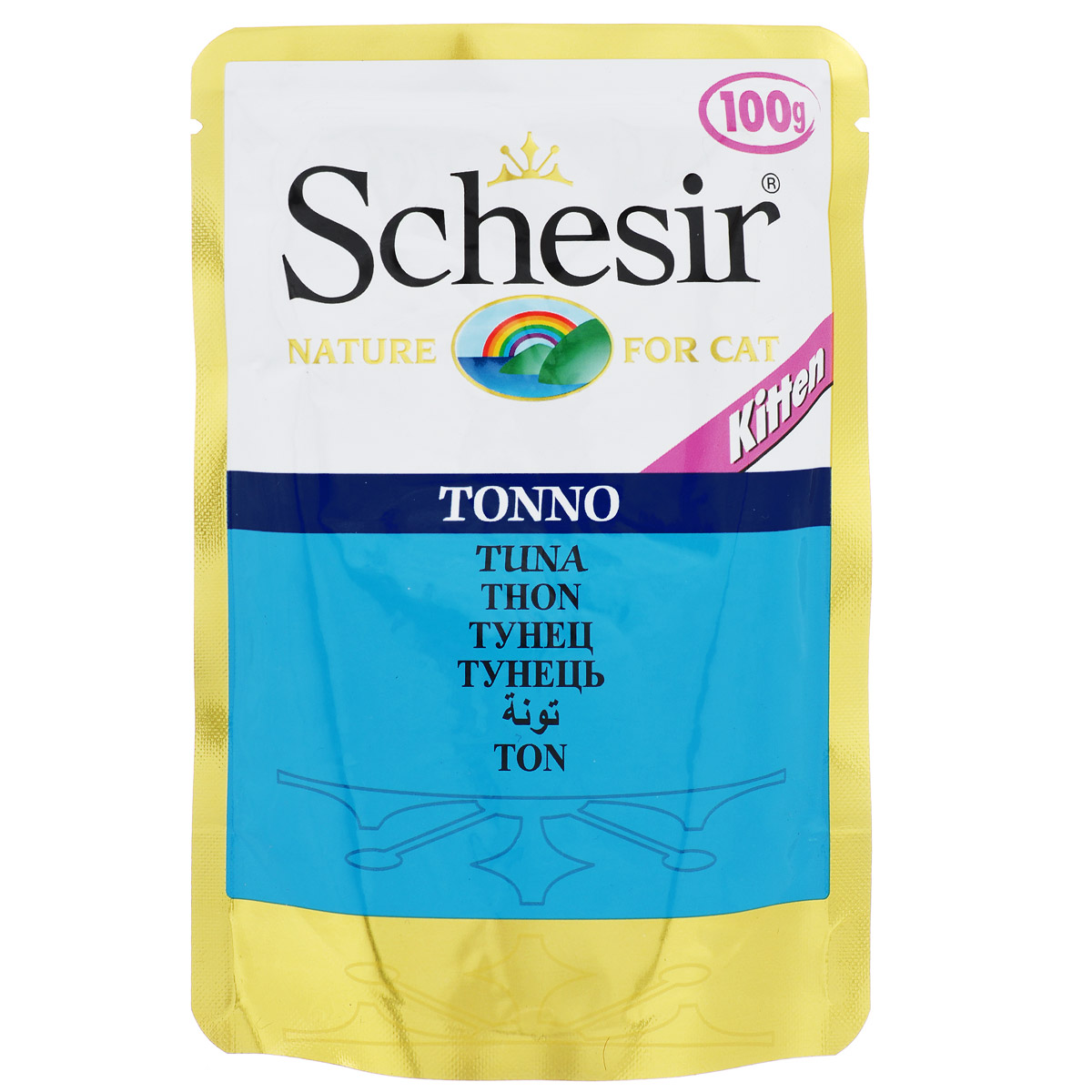 Консервы для котят Schesir, с тунцом, 100 г132.С575Консервы Schesir - это полнорационный корм для котят. Состав: тунец (50% минимум), овощное желе. Содержание элементов: сырой протеин 12%, жиры 2%, клетчатка 1,2%, зола 0,1%, влажность 82%.Витамины: А - 1700 МЕ, D3 - 120 МЕ, Е - 180 мг, таурин 200 мг. Вес: 100 г. Товар сертифицирован.