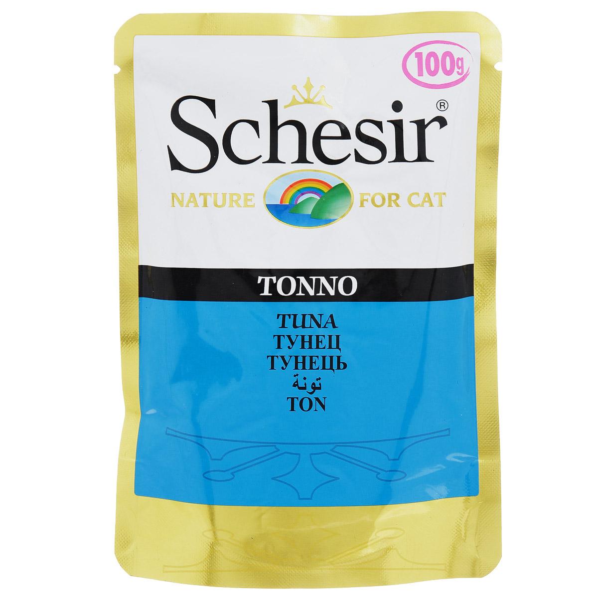Консервы для кошек Schesir, с тунцом, 100 г консервы васька для кошек с лососем в желе 100 г